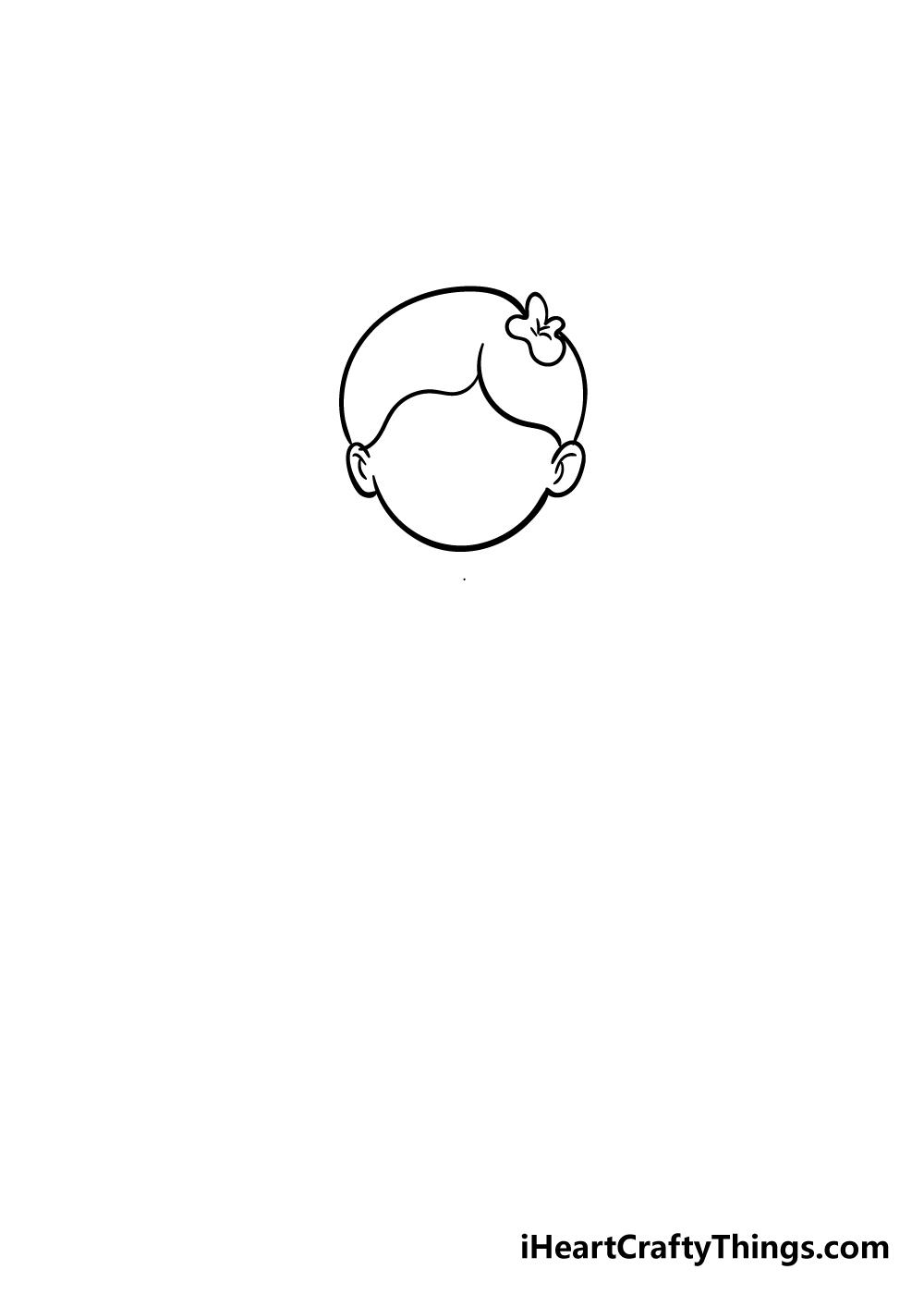 cartoon girl drawing step 2