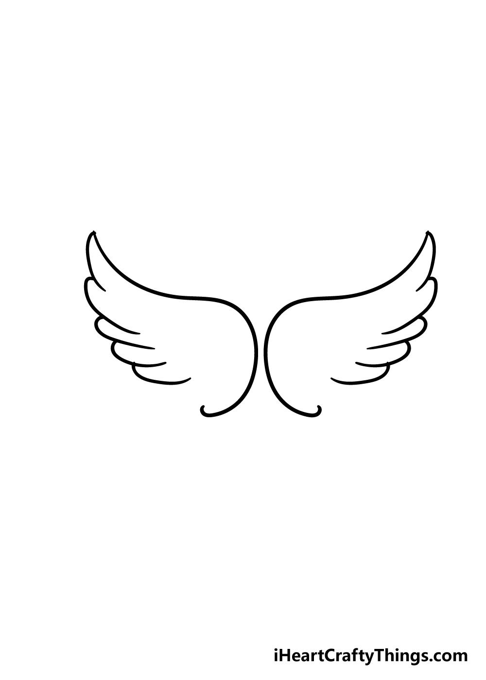 angel wings drawing step 3