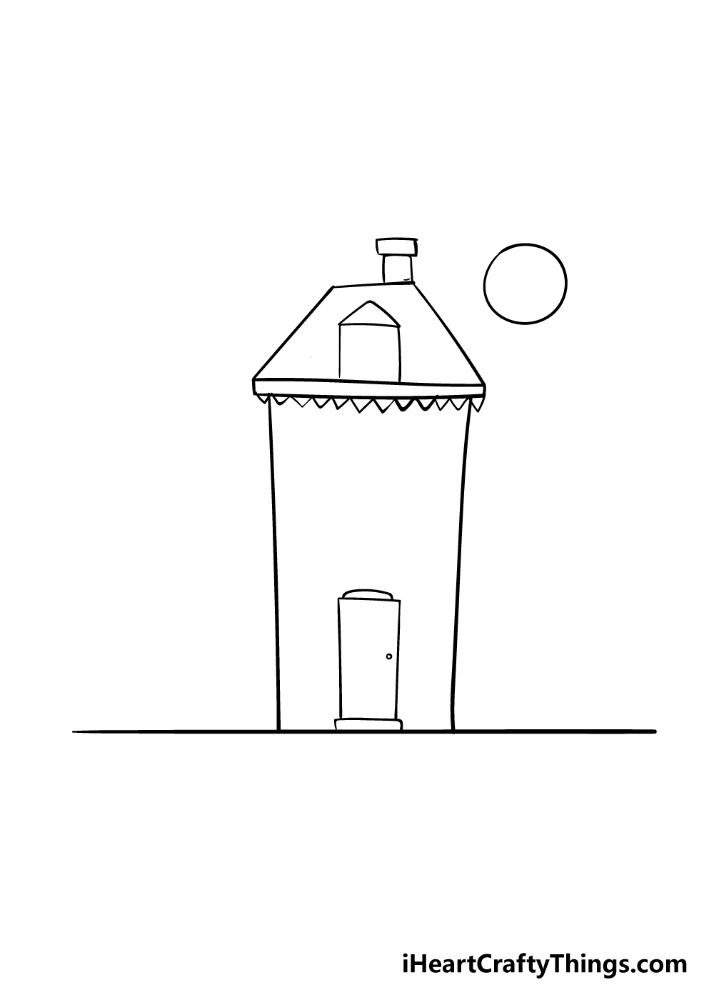 haunted house drawing step 3