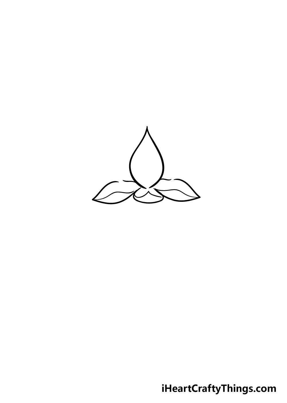 lotus flower drawing step 3