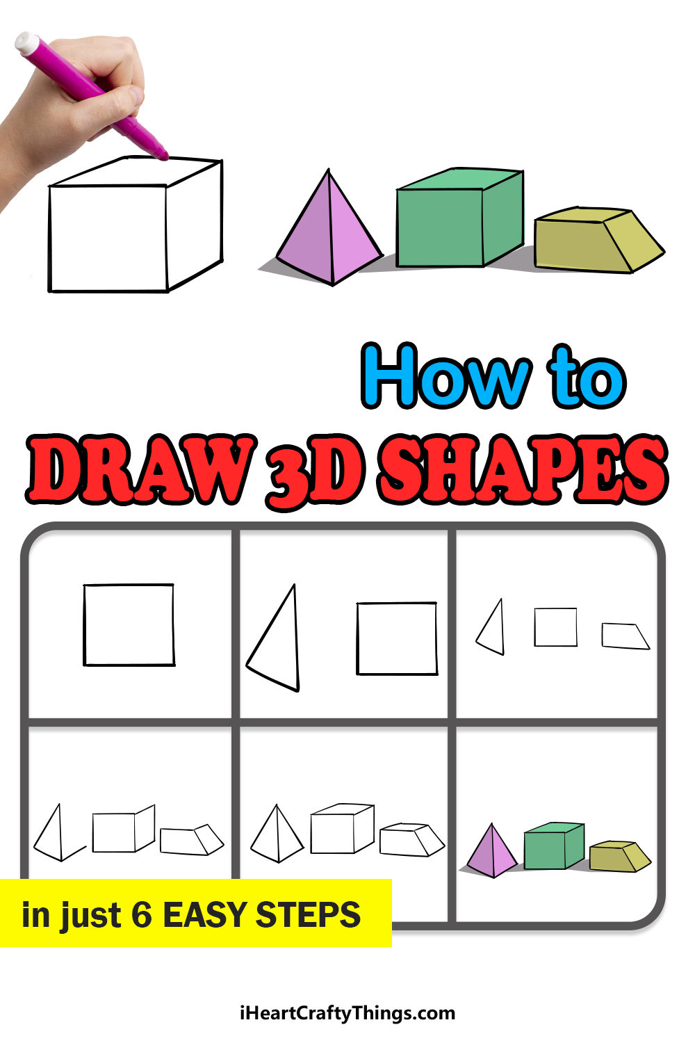 how to draw 3D shapes in 6 easy steps