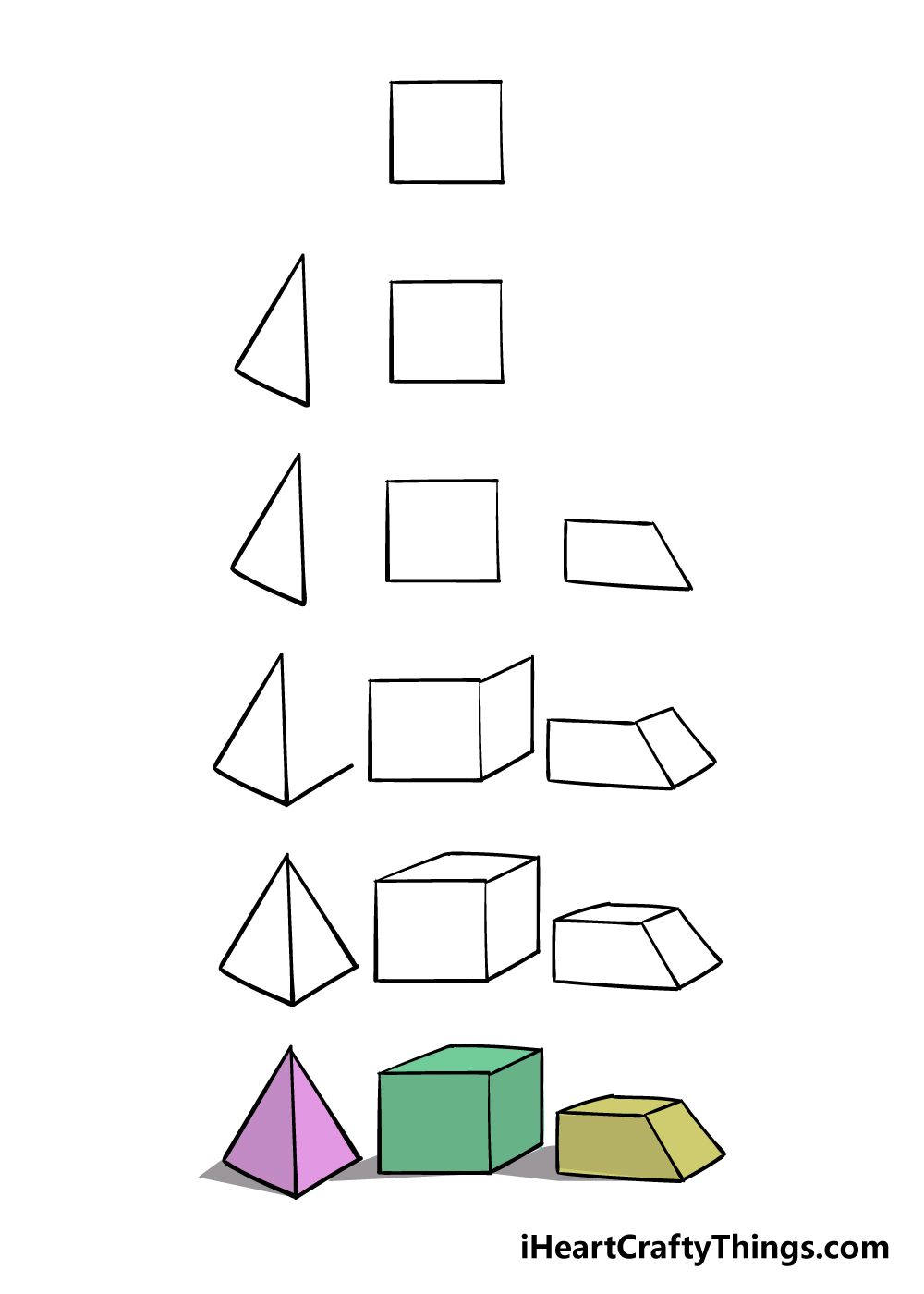 how to draw 3D shapes in 6 steps