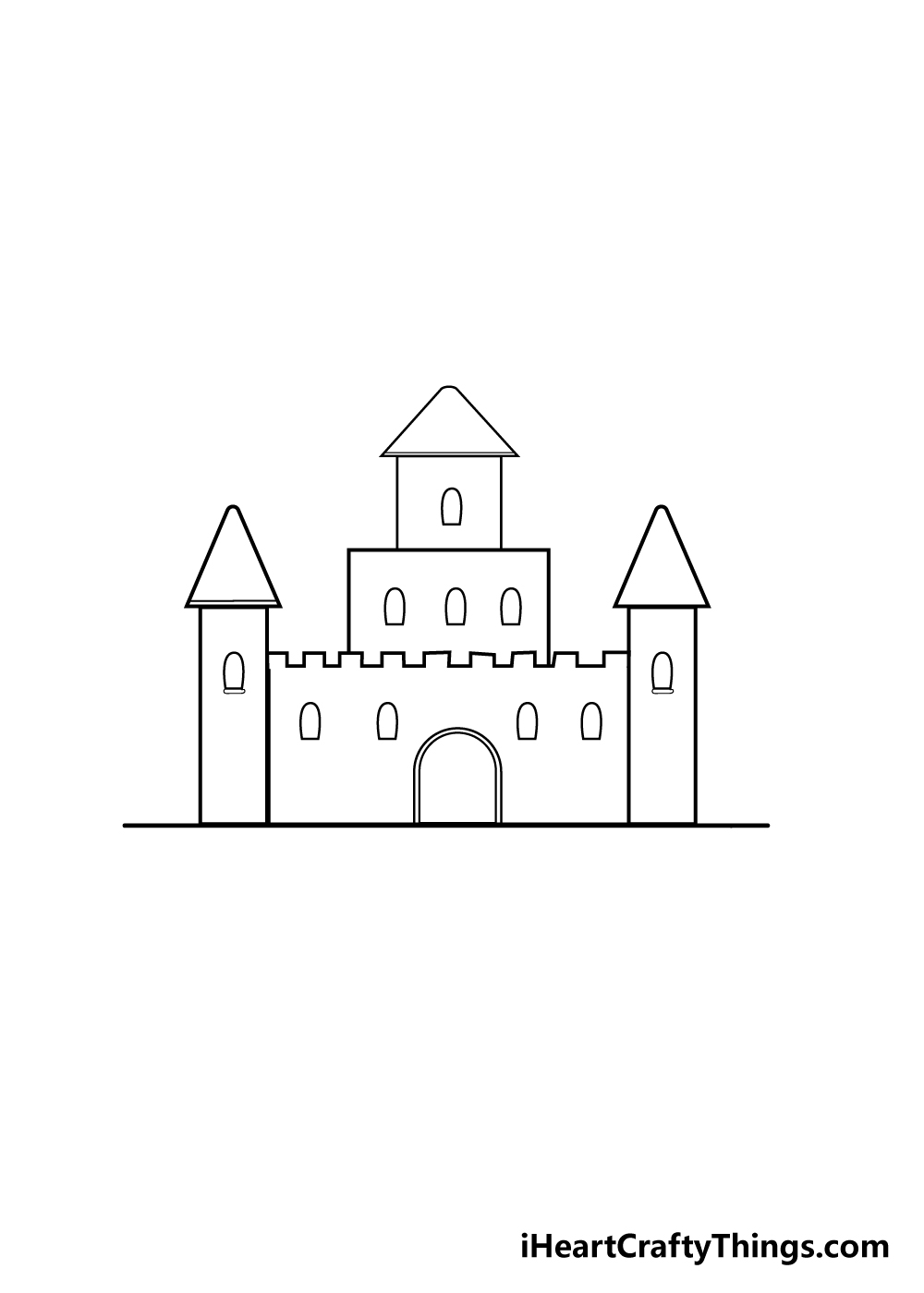 castle drawing step 4