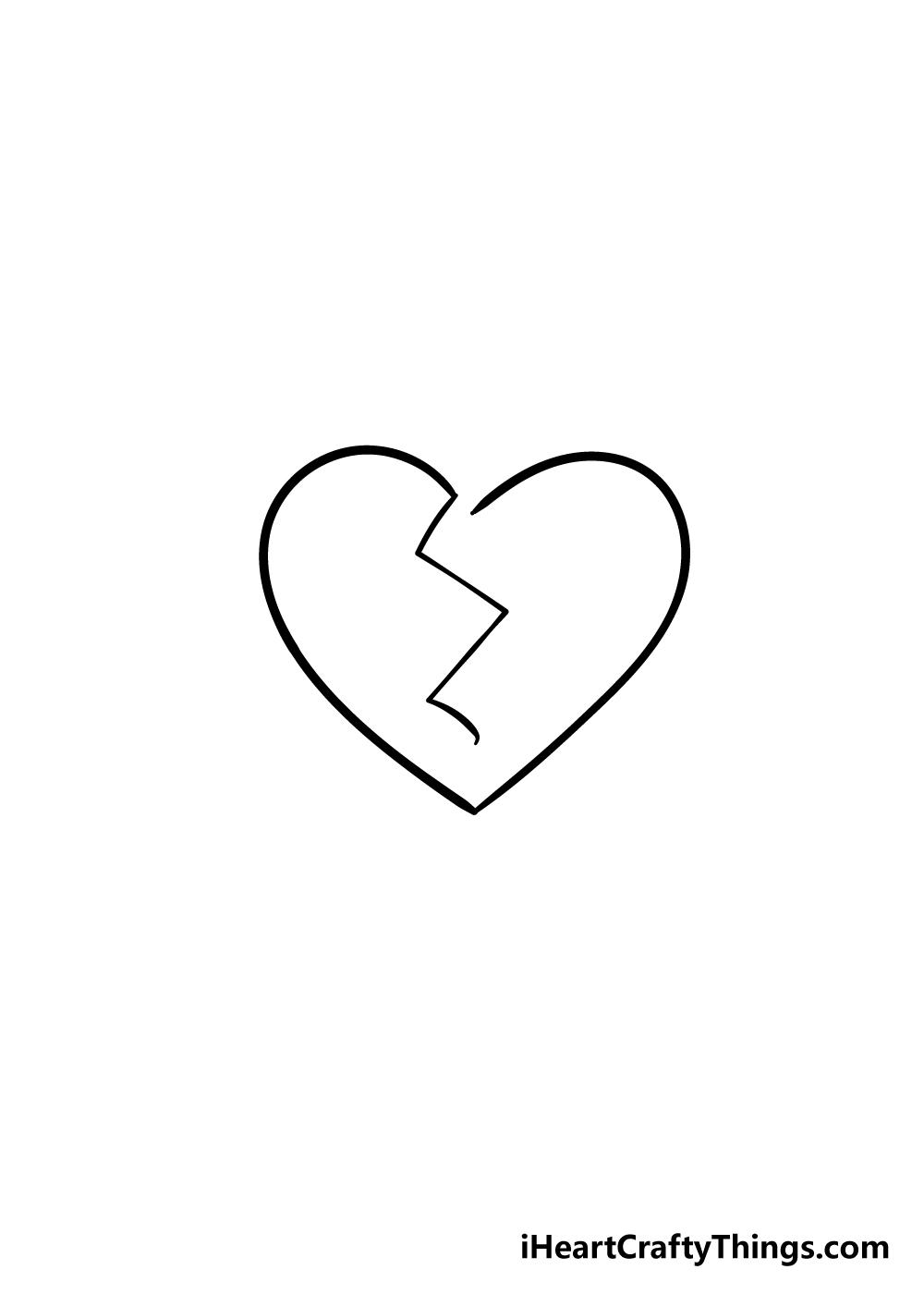 broken heart drawing step 4