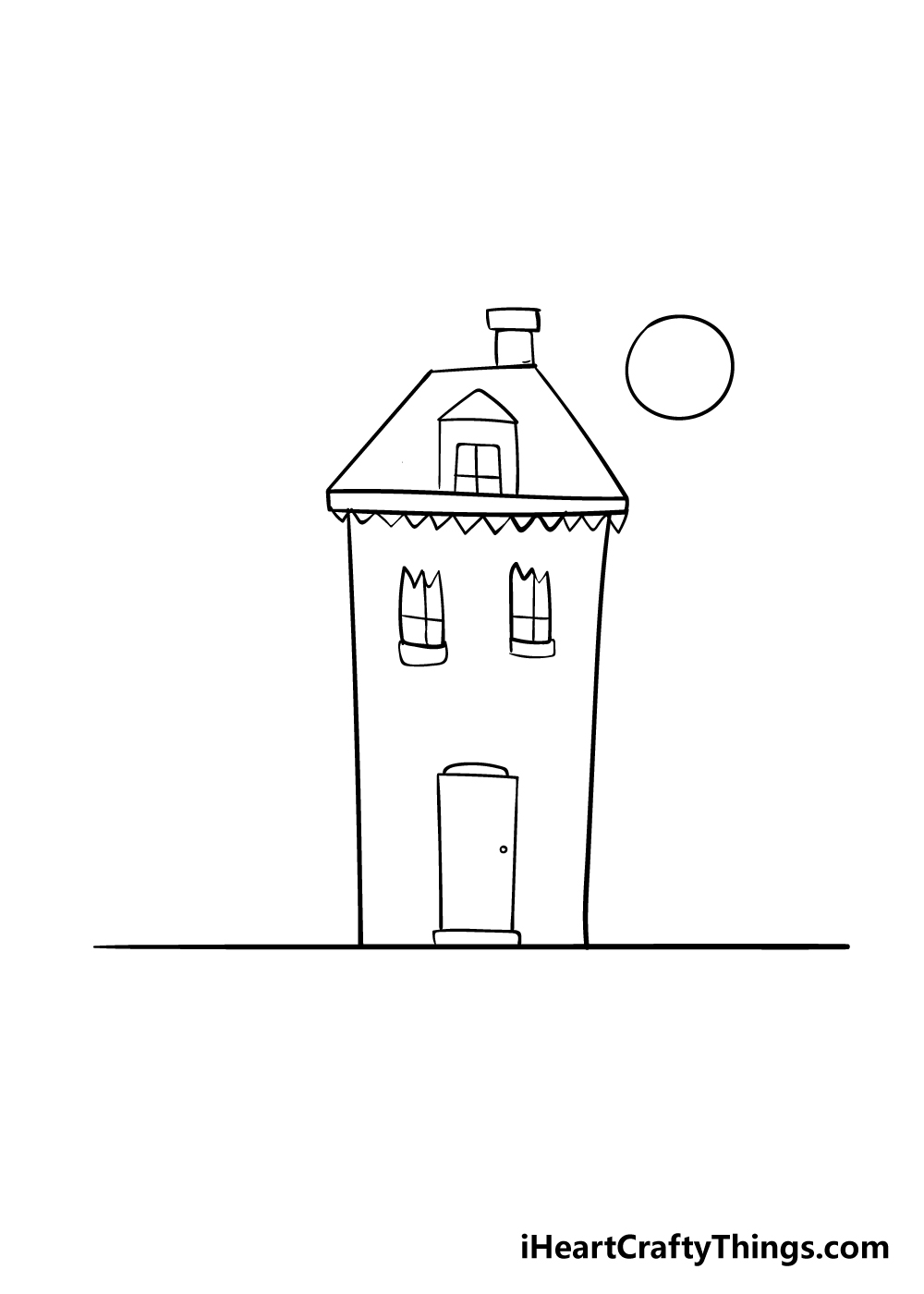 haunted house drawing step 4