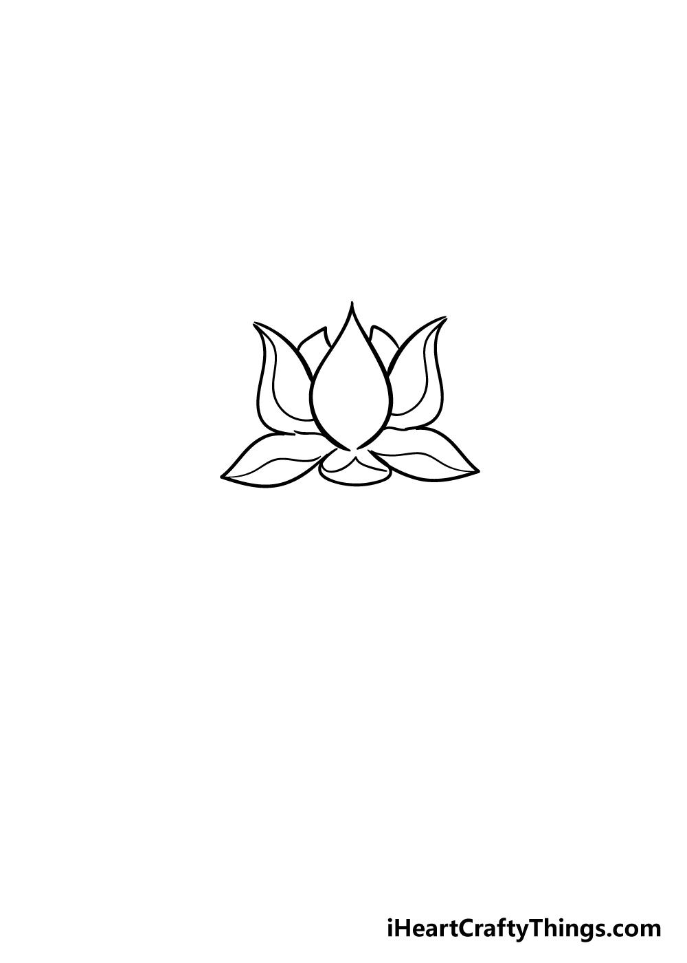 lotus flower drawing step 4