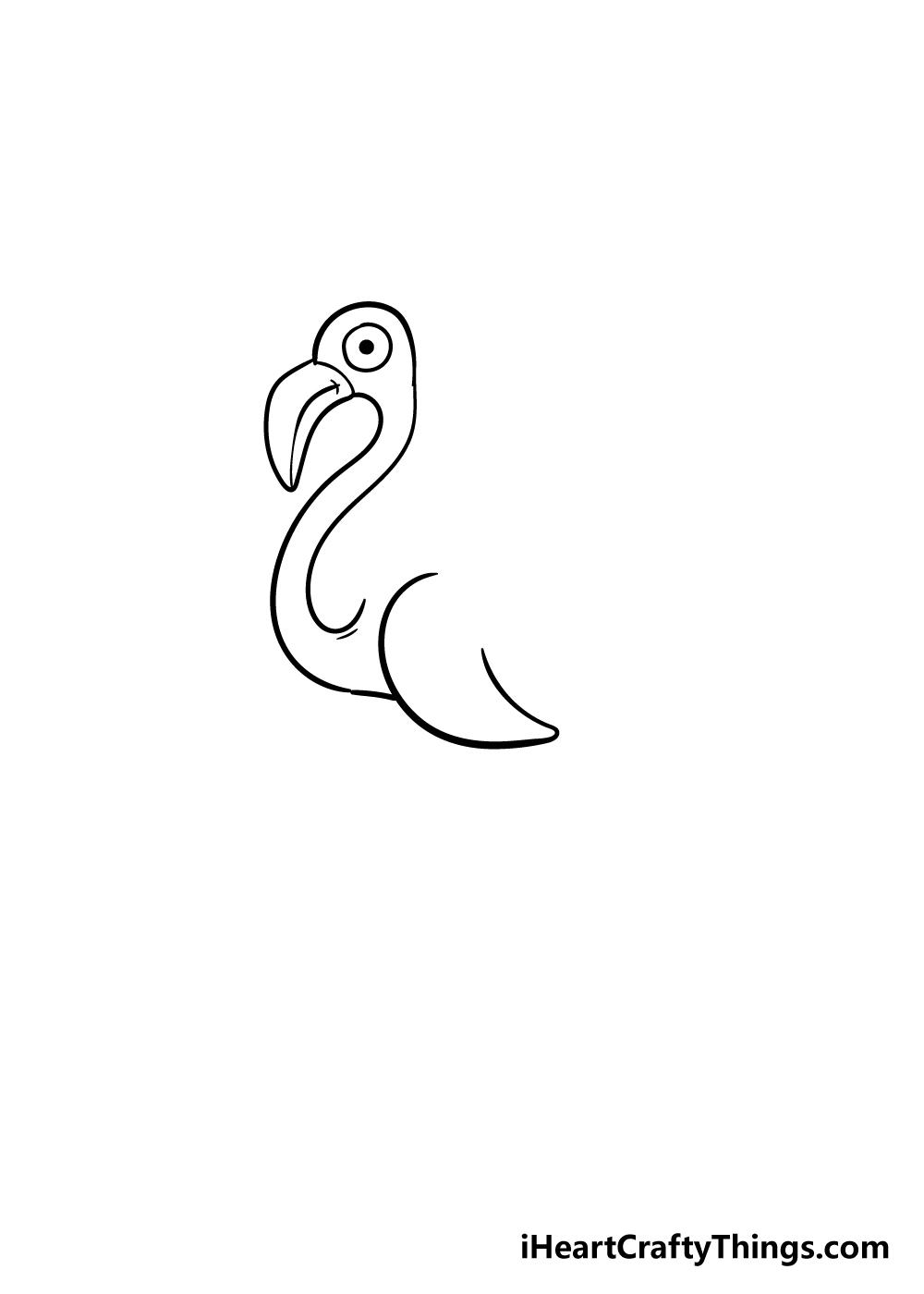 flamingo drawing step 5