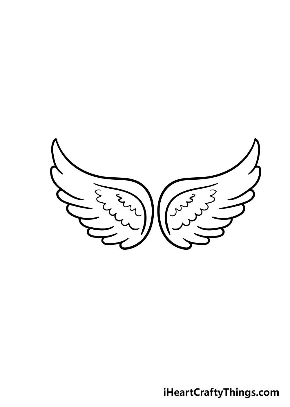 angel wings drawing step 5