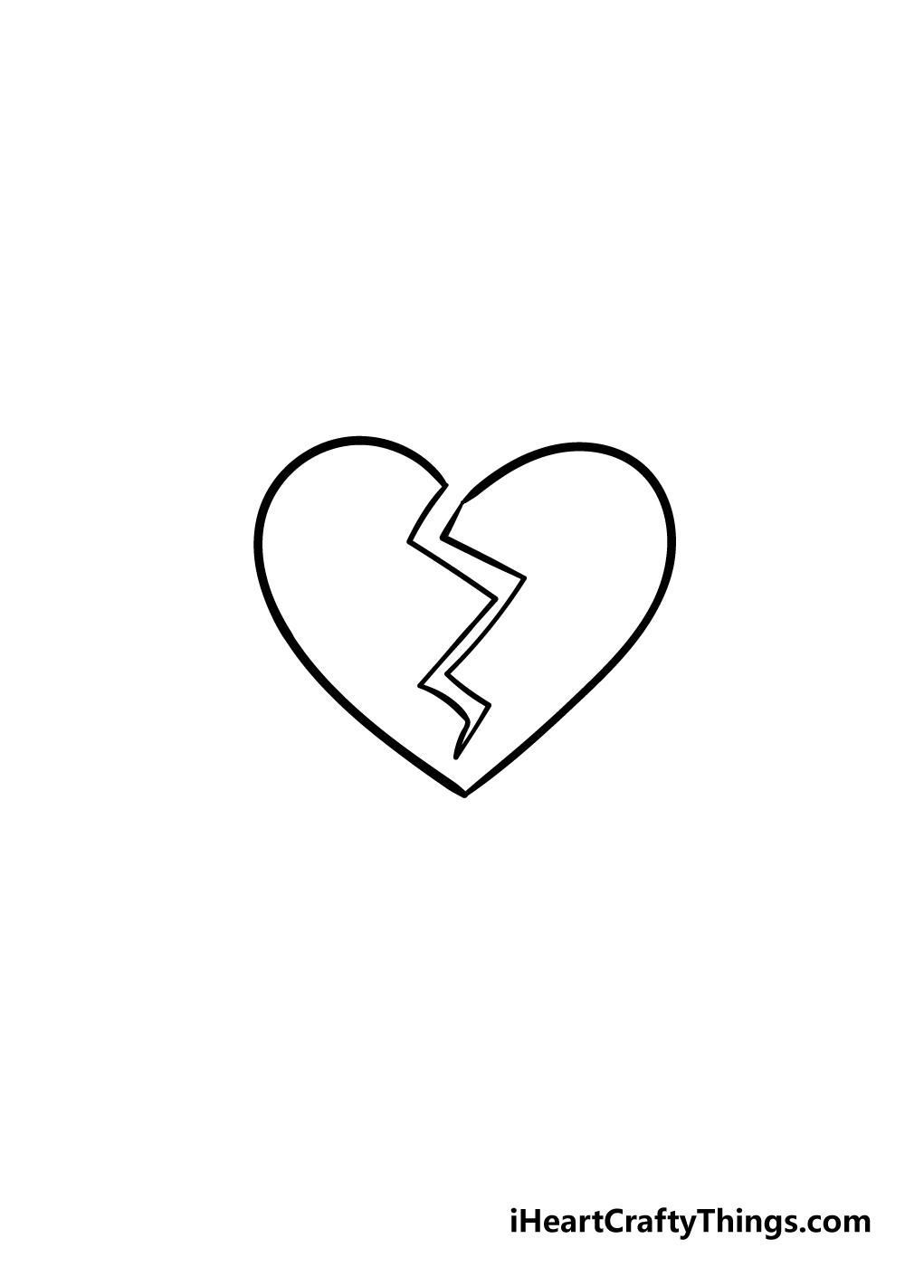broken heart drawing step 5