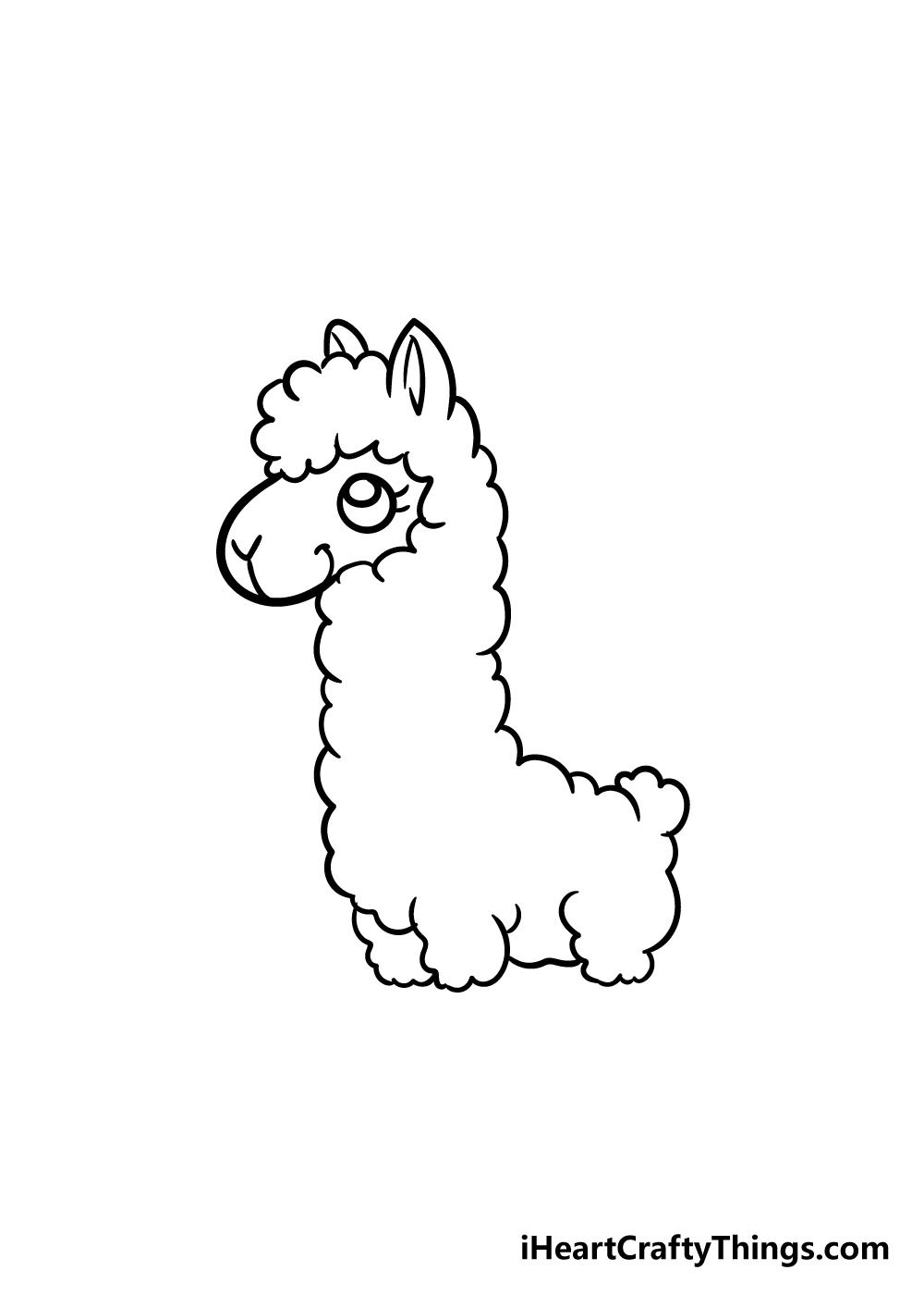llama drawing step 5