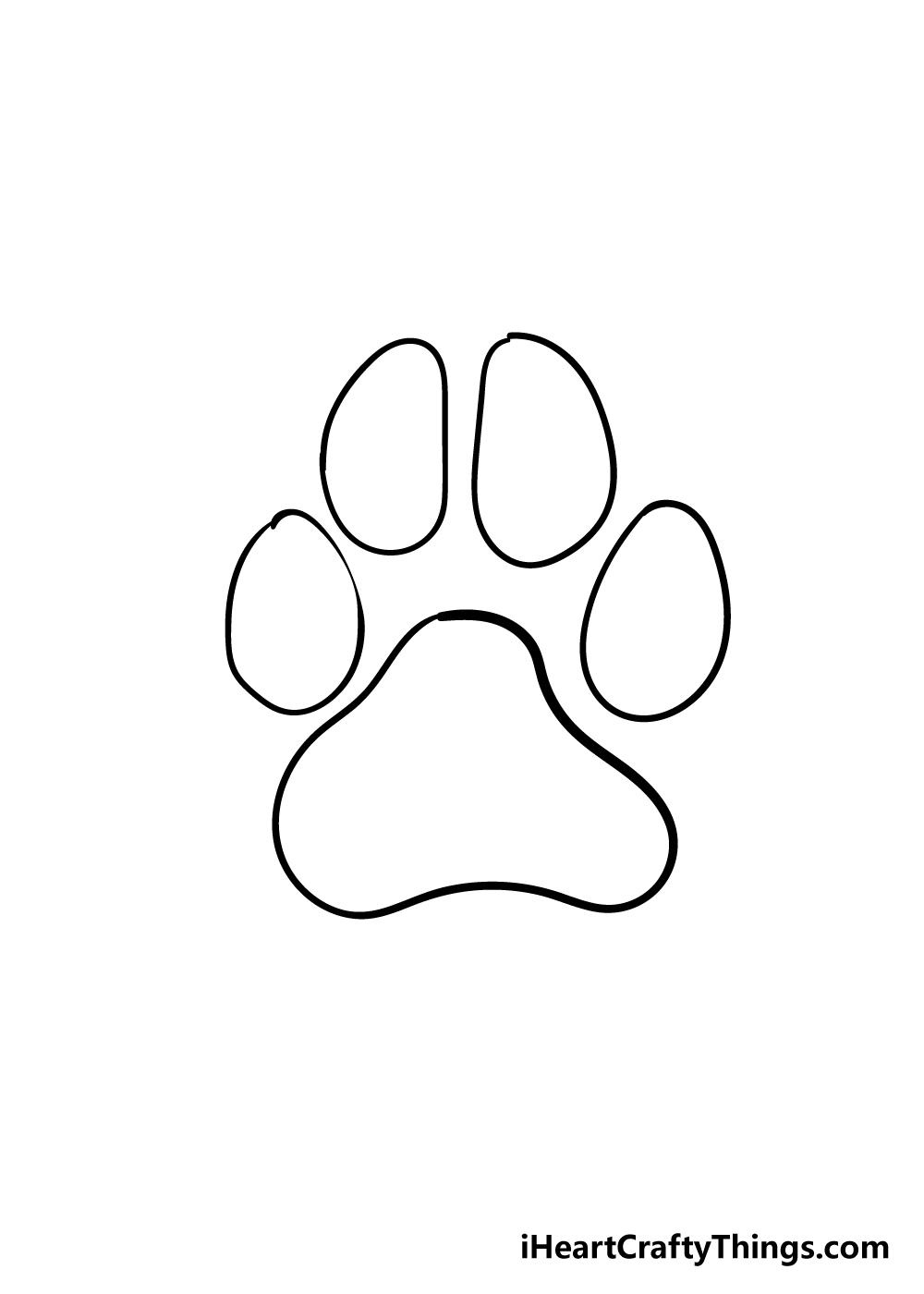 dog paw drawing step 5