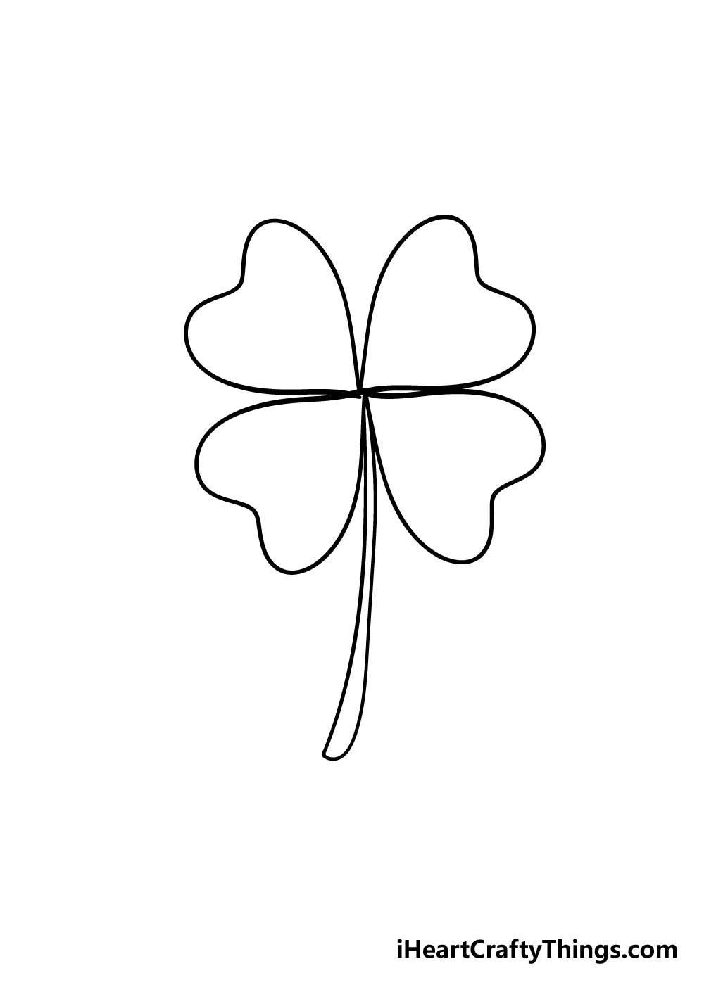 drawing four-leaf clover step 5