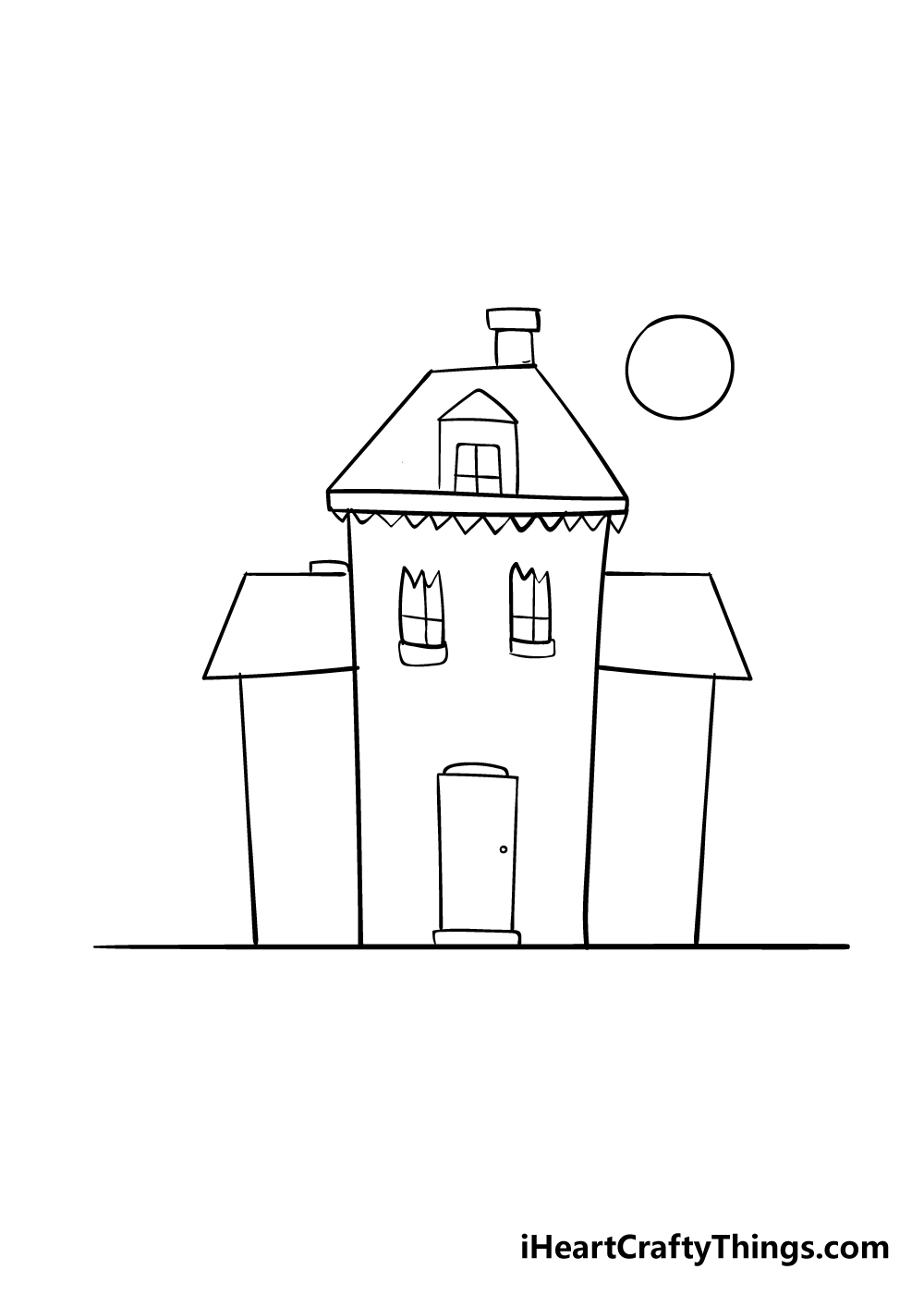 haunted house drawing step 5