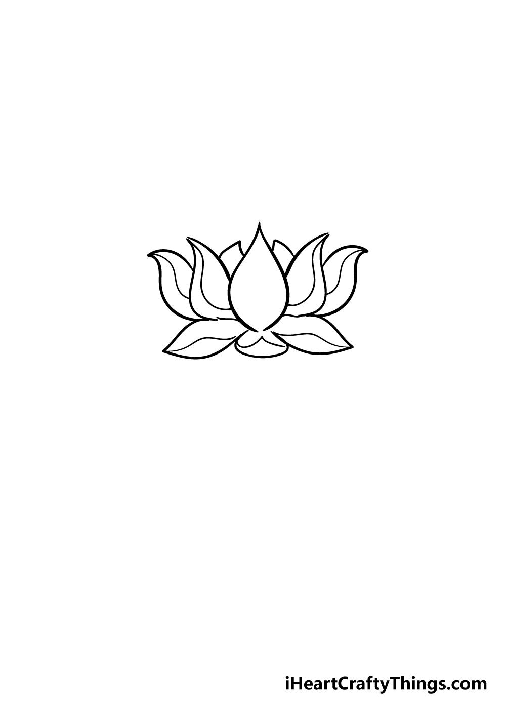 lotus flower drawing step 5