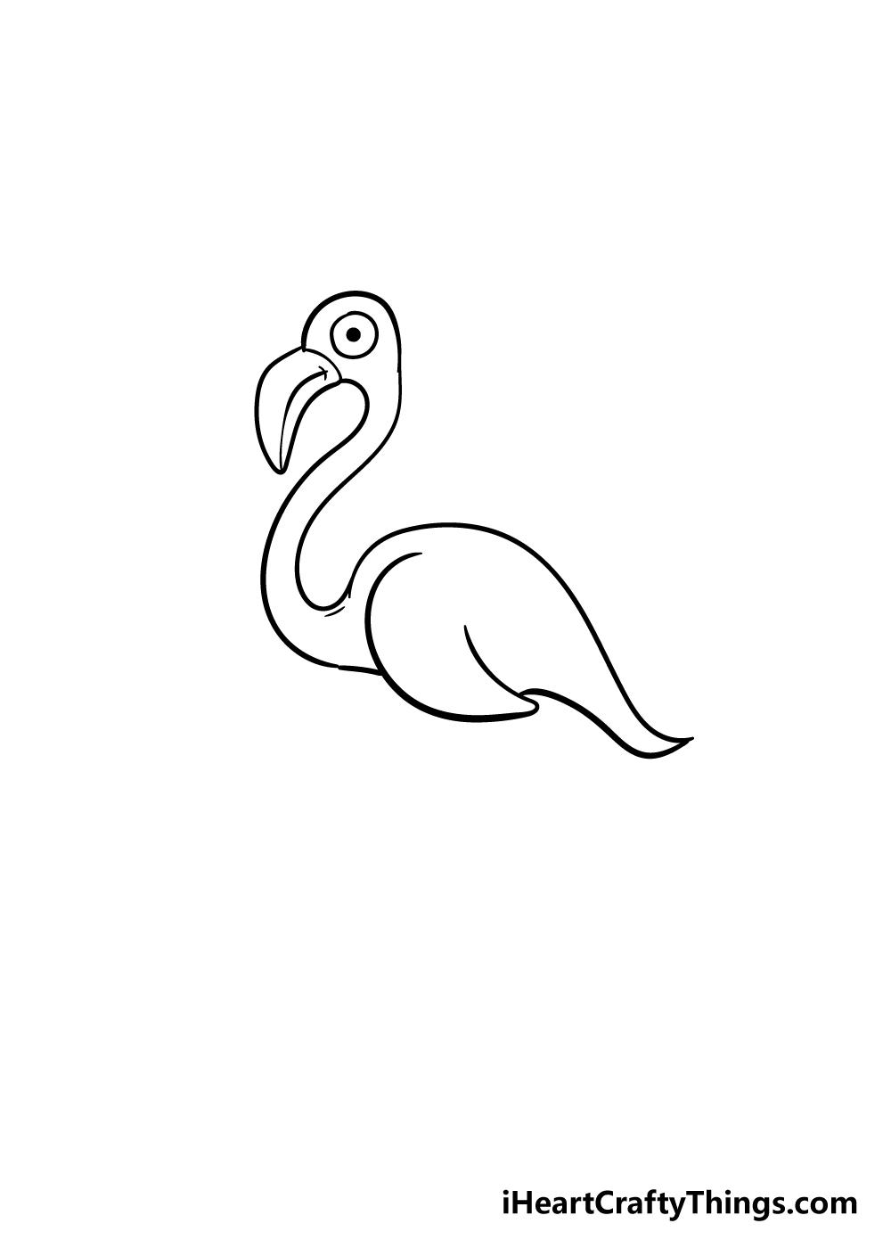 flamingo drawing step 6