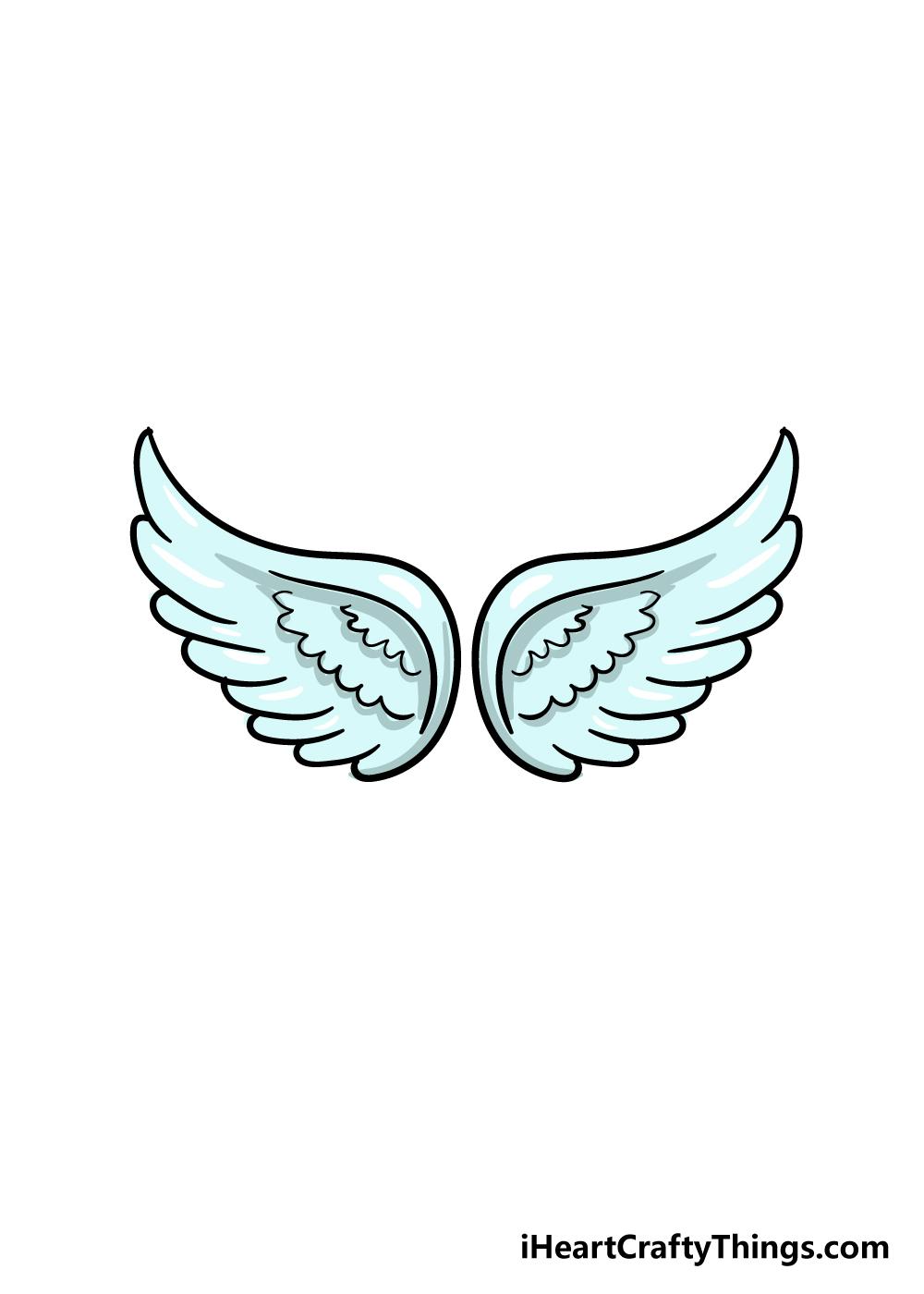 angel wings drawing step 6