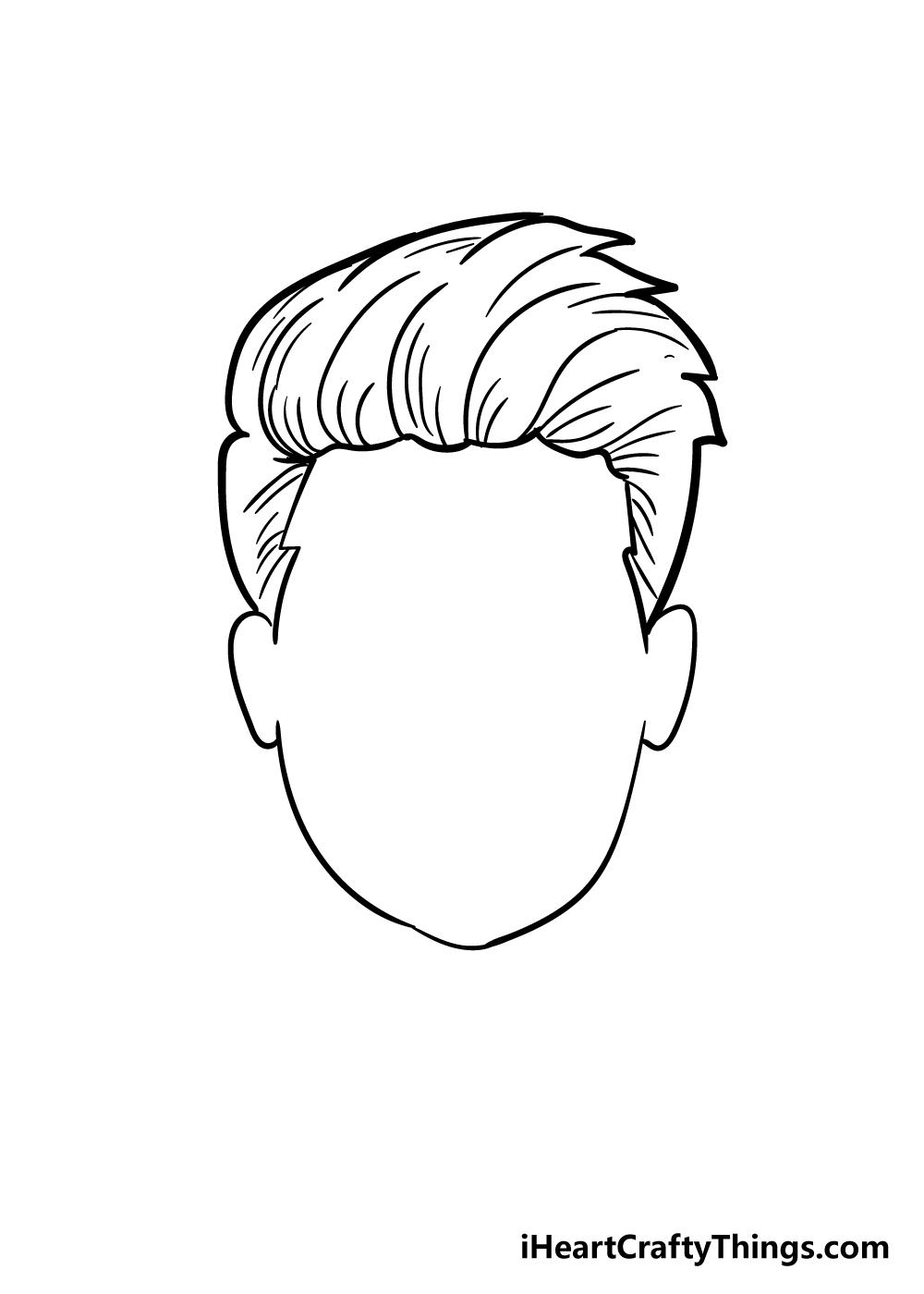 boy's hair drawing step 6