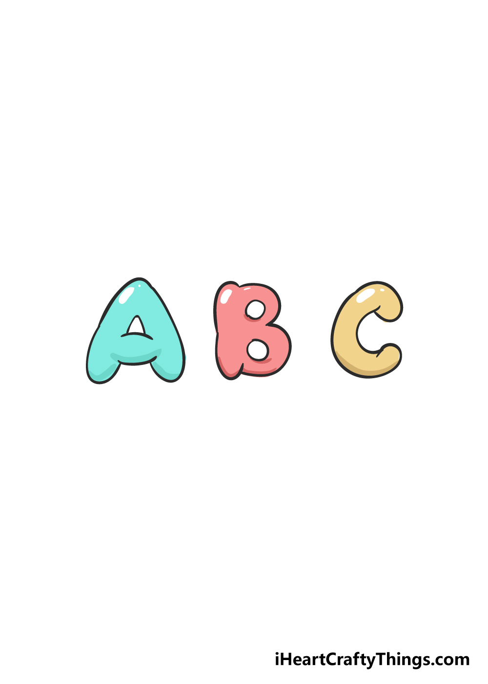 bubble letters drawing step 6