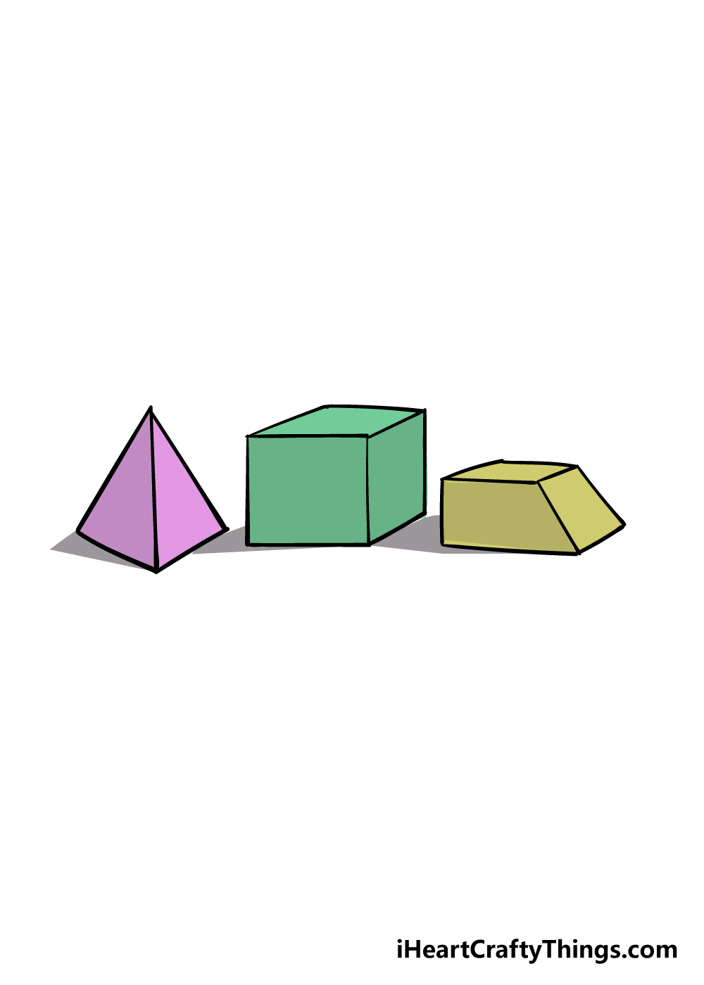 3D shapes drawing step 6
