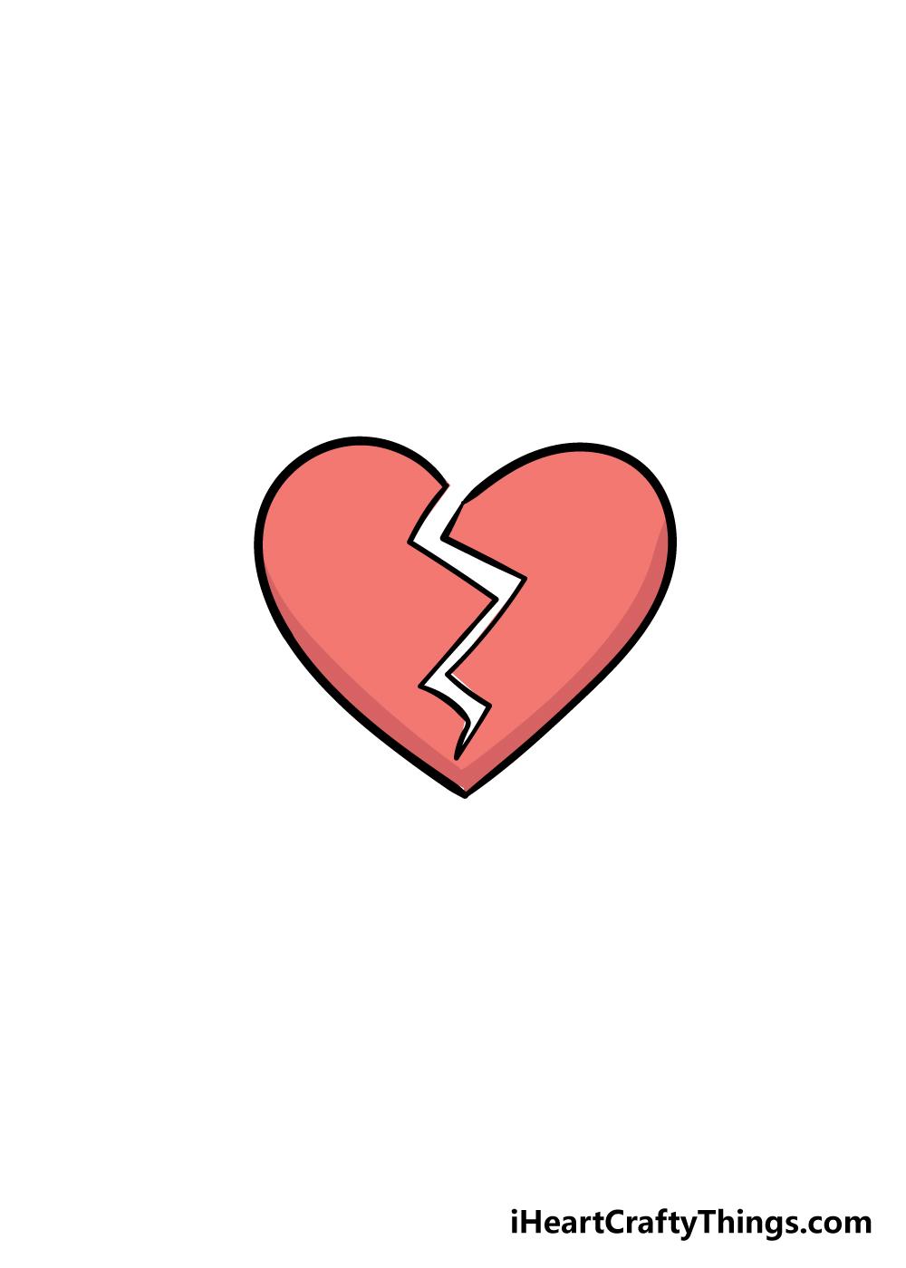 broken heart drawing step 6