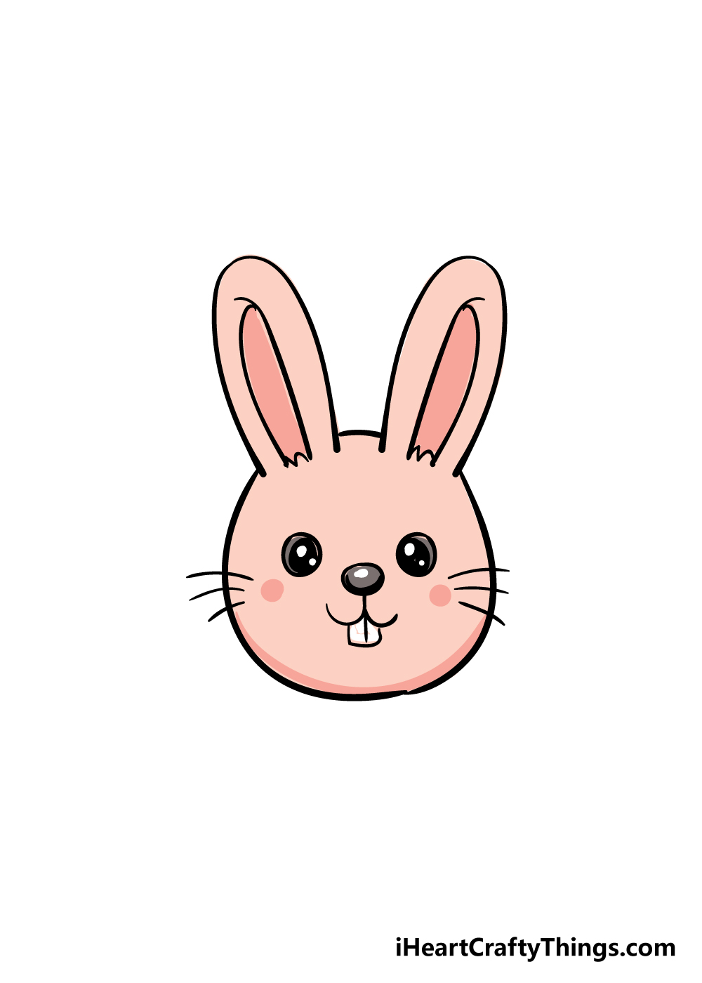 bunny face drawing step 6