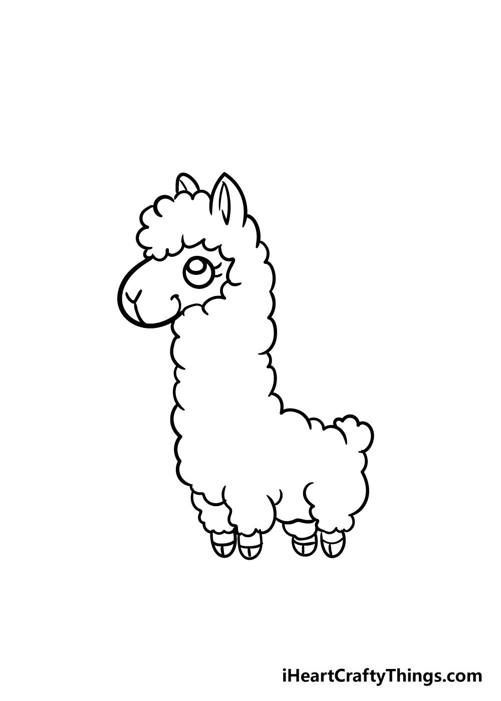 llama drawing step 6