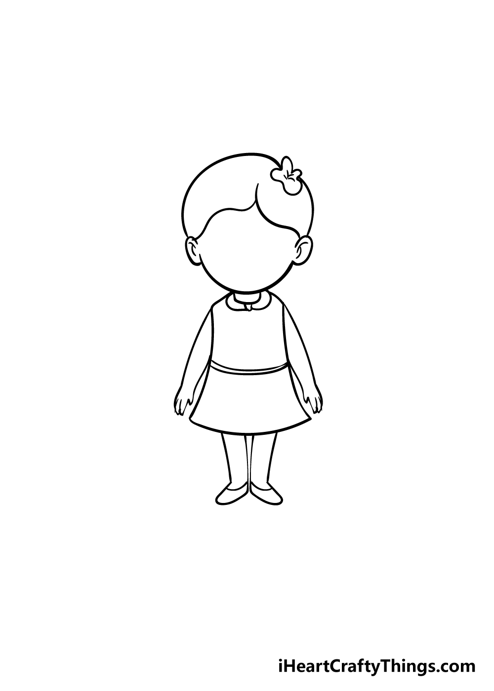 cartoon girl drawing step 6