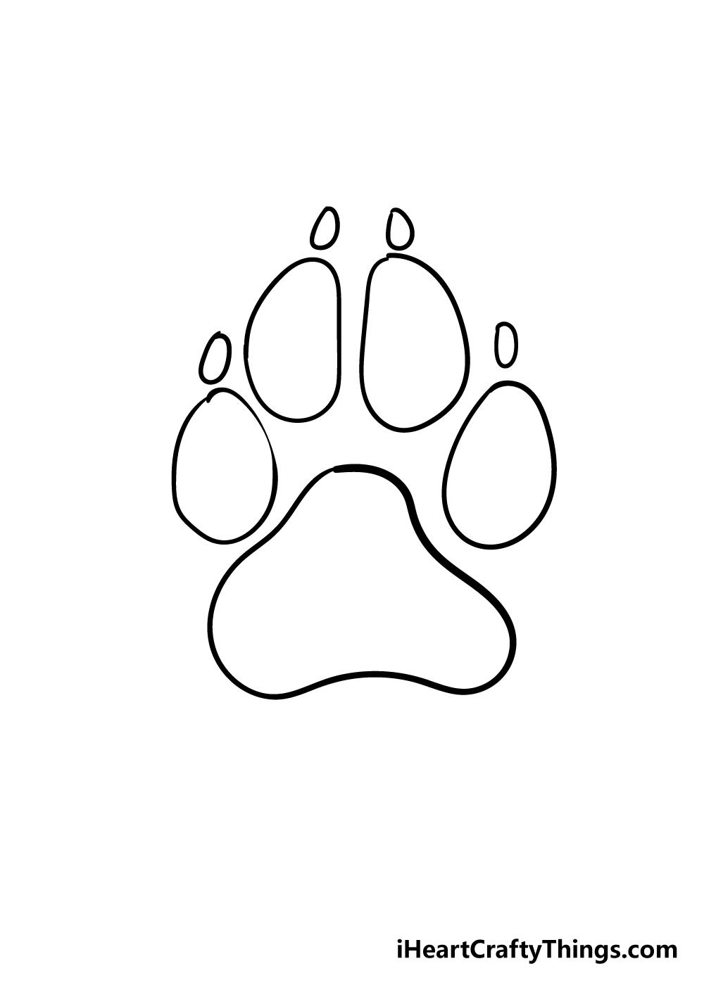 dog paw drawing step 6