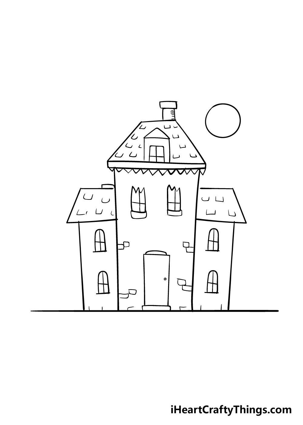 haunted house drawing step 6