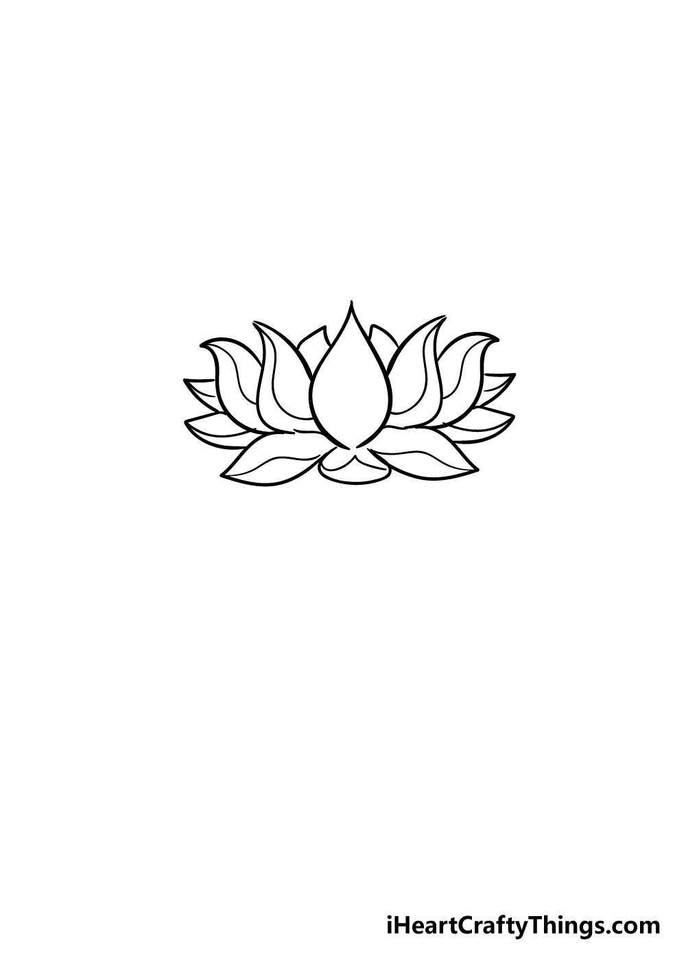 lotus flower drawing step 6