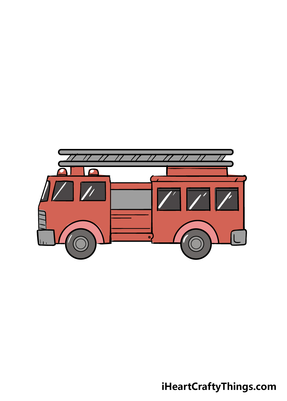 fire truck drawing step 6