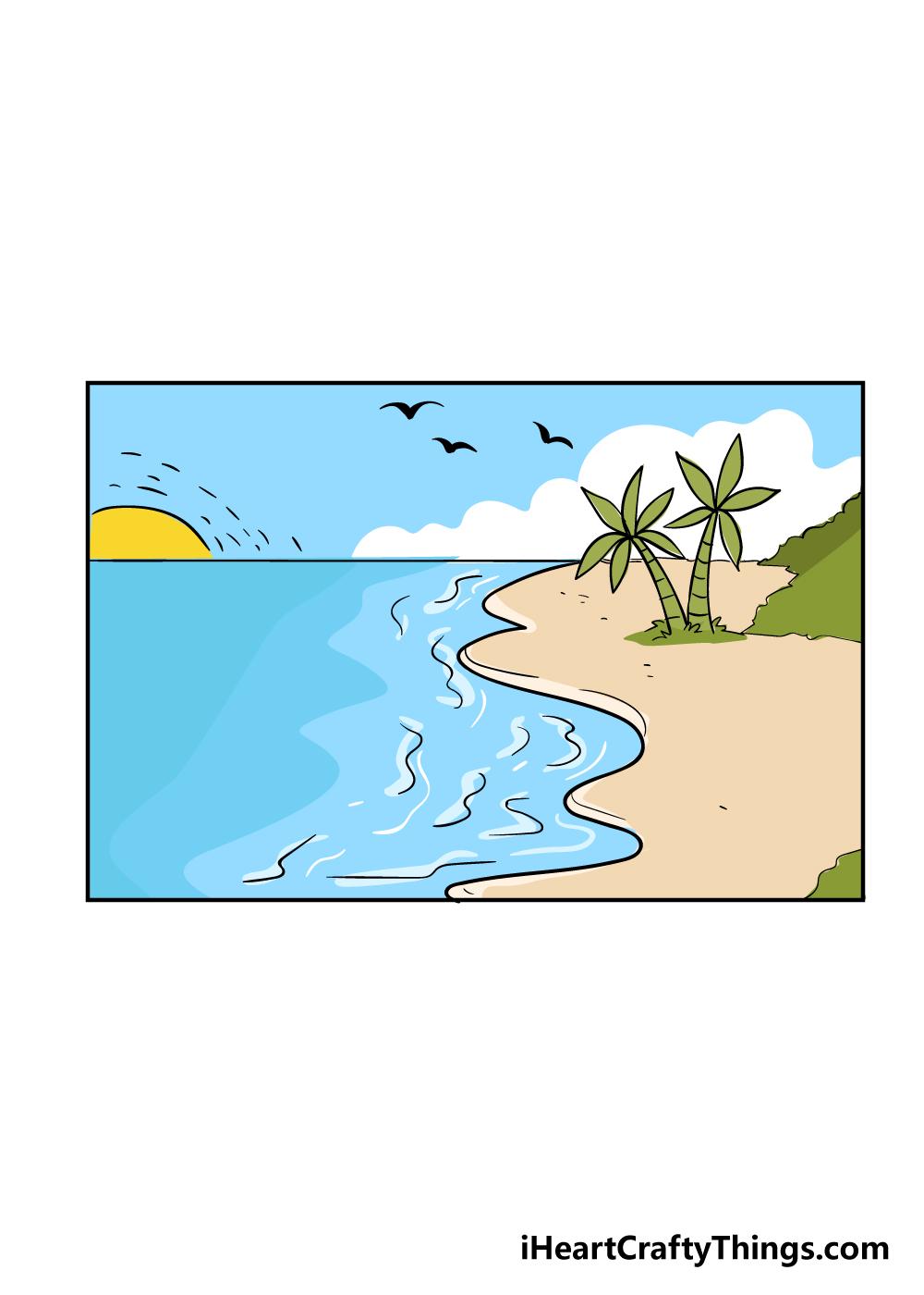 beach drawing step 7