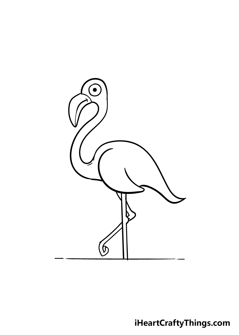 flamingo drawing step 7