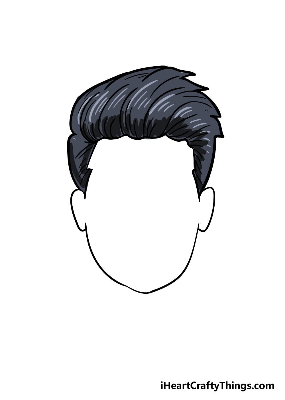boy's hair drawing step 7