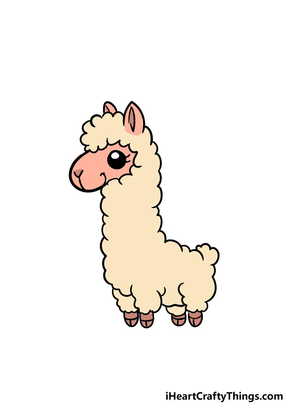 llama drawing step 7