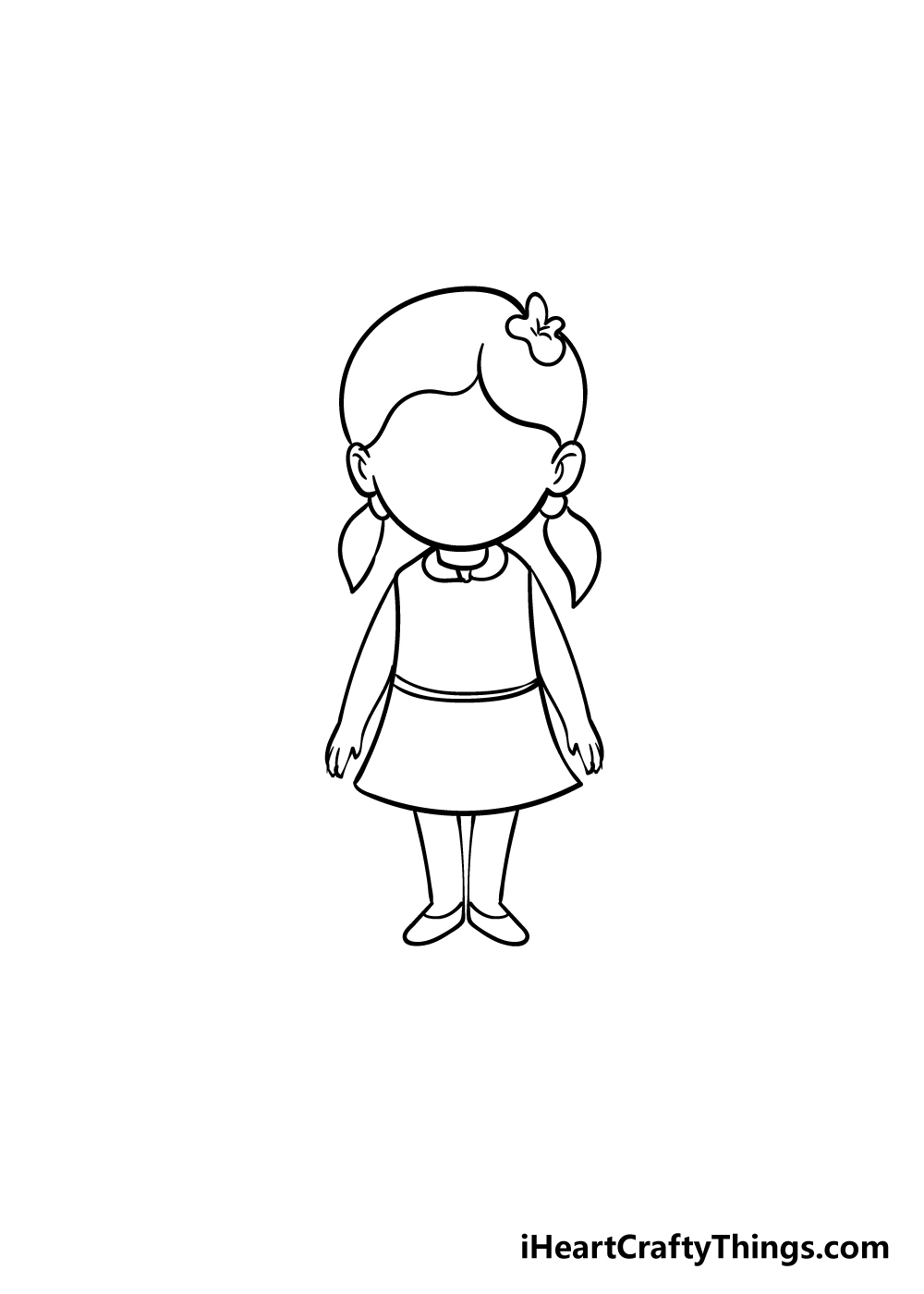 cartoon girl drawing step 7