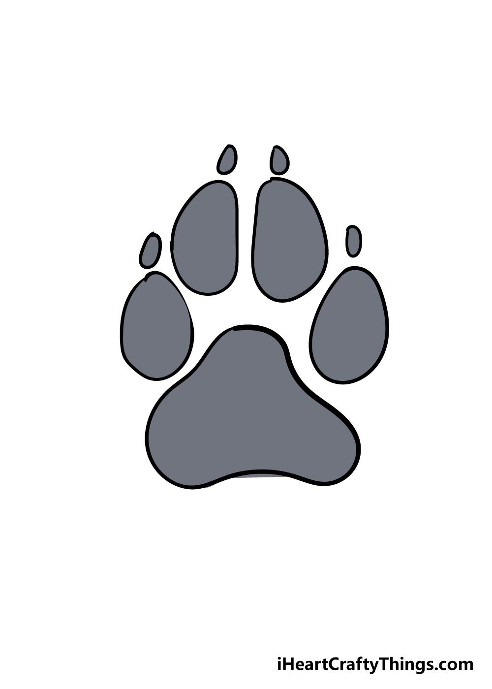 dog paw drawing step 7