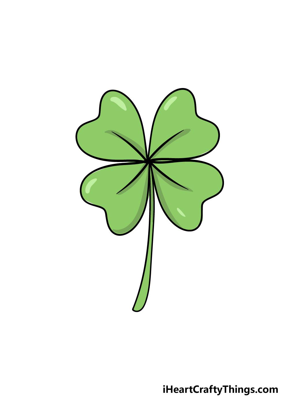drawing four-leaf clover step 7