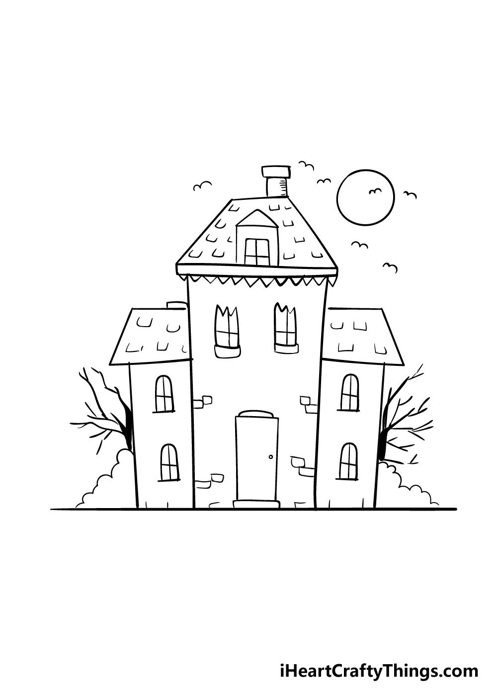 haunted house drawing step 7