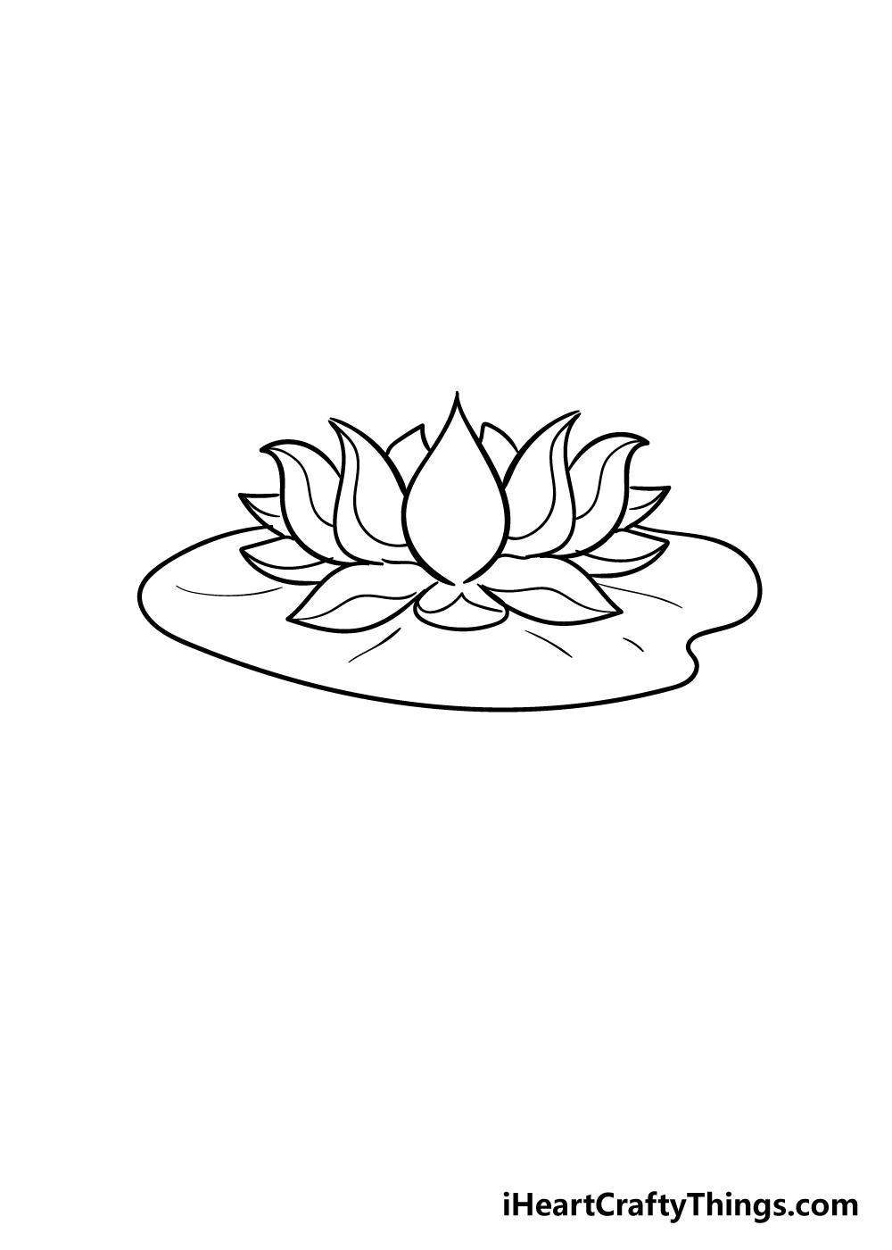 lotus flower drawing step 7