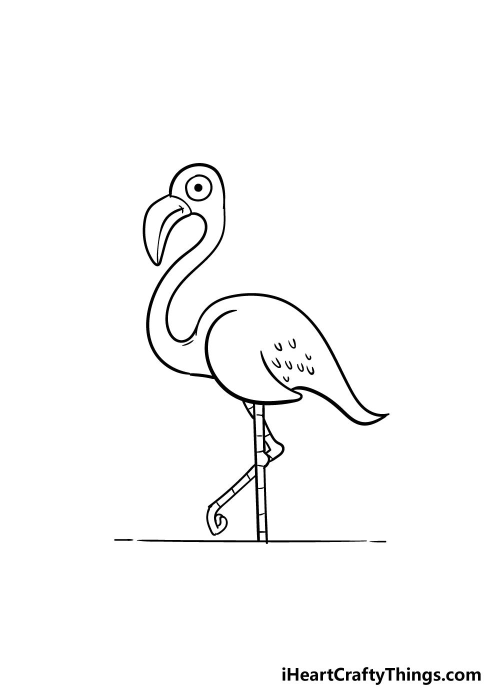 flamingo drawing step 8