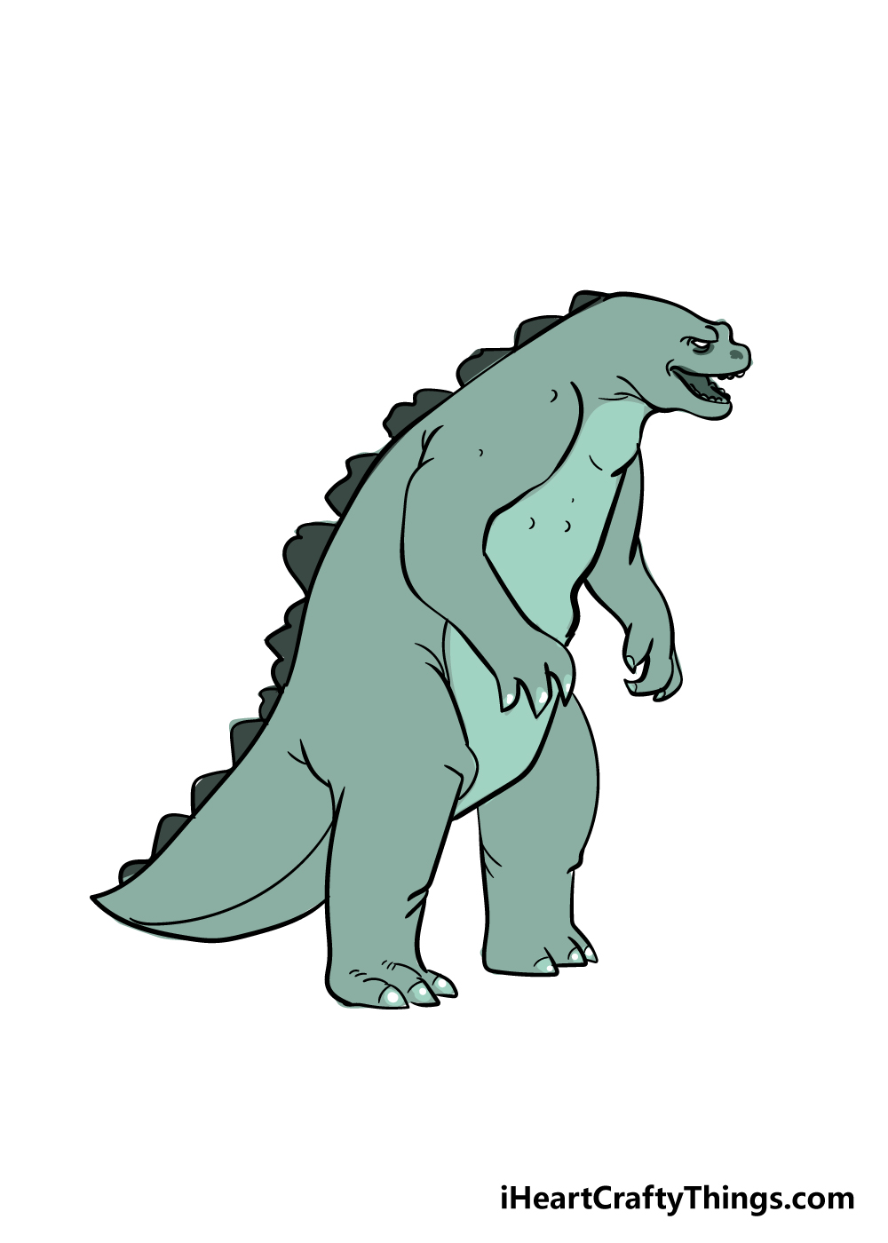 Godzilla drawing step 8