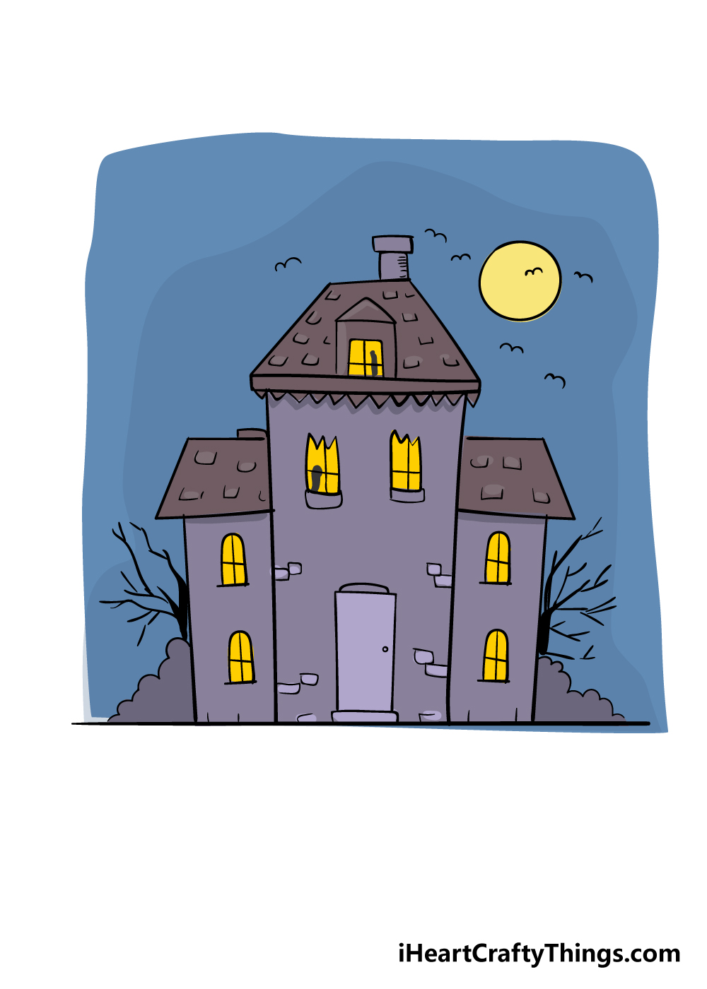 haunted house drawing step 8