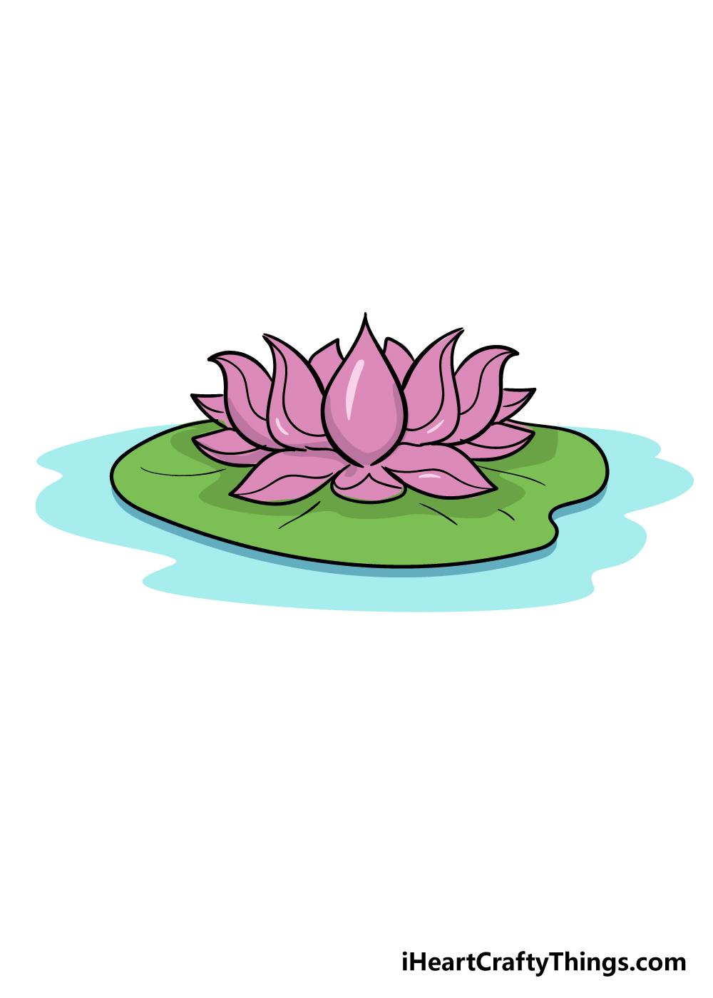 lotus flower drawing step 8