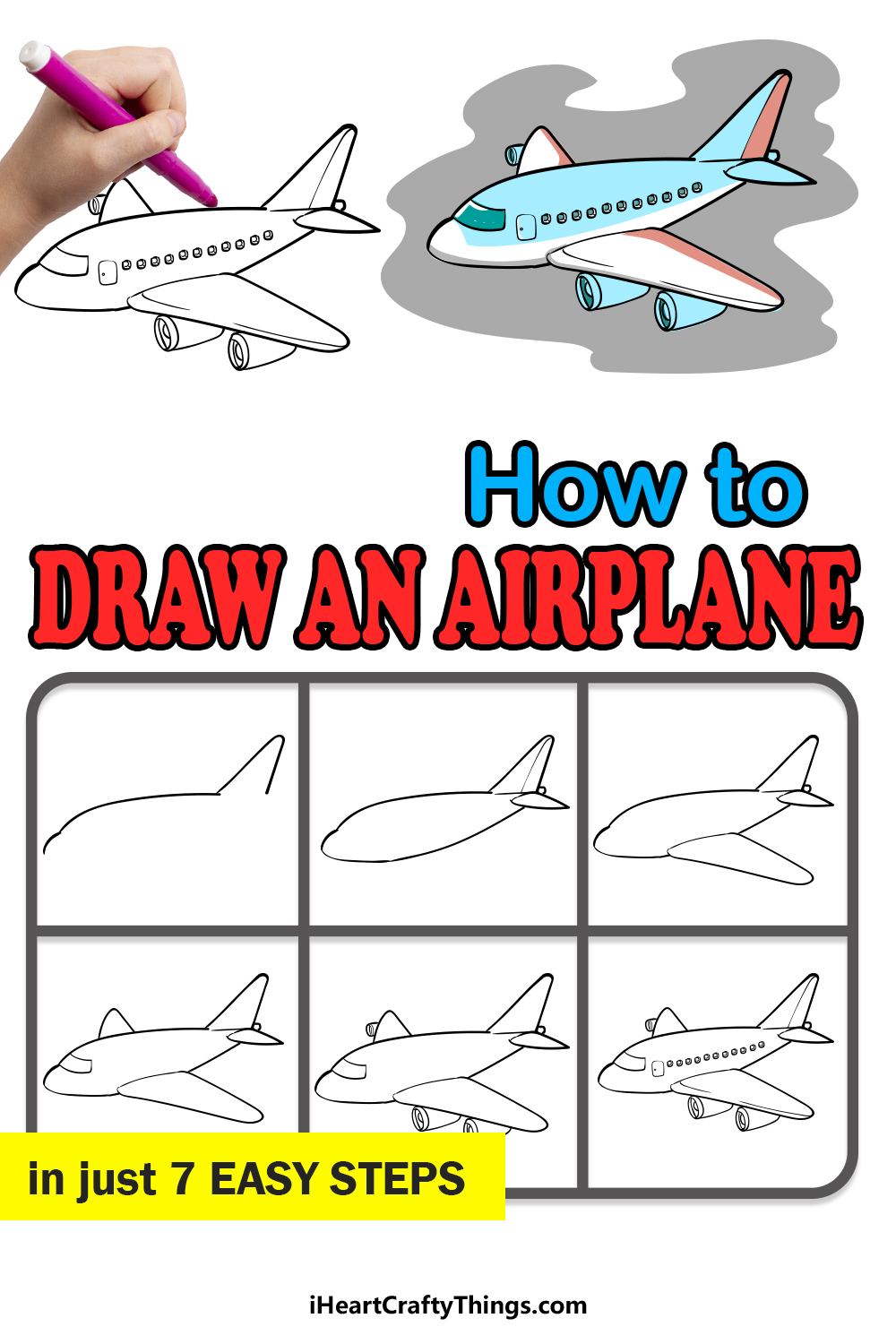 how to draw an airplane in 7 easy steps