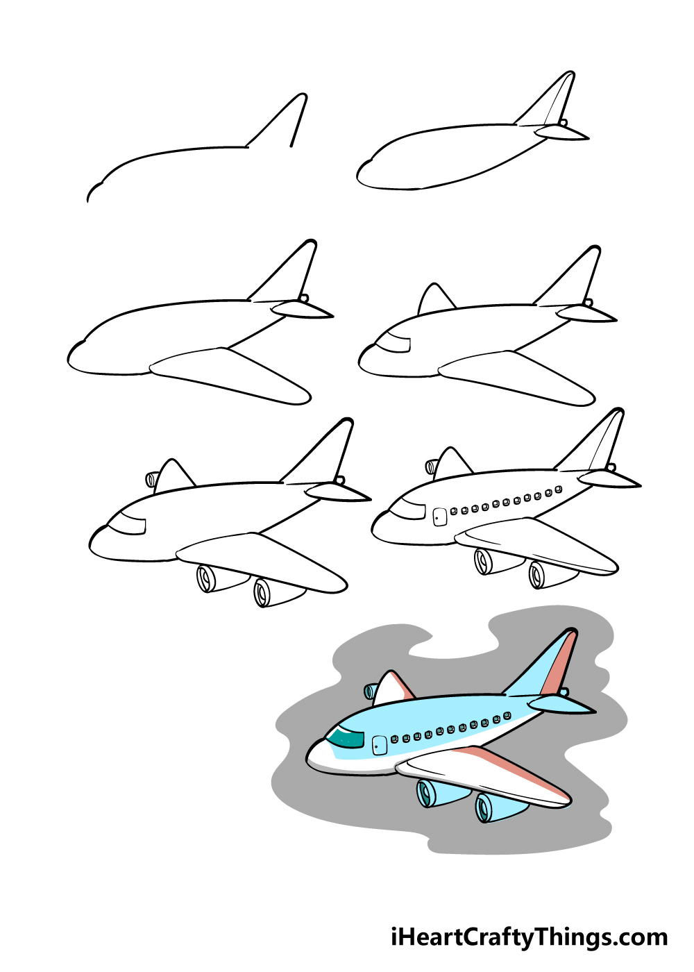 how to draw airplane in 7 steps