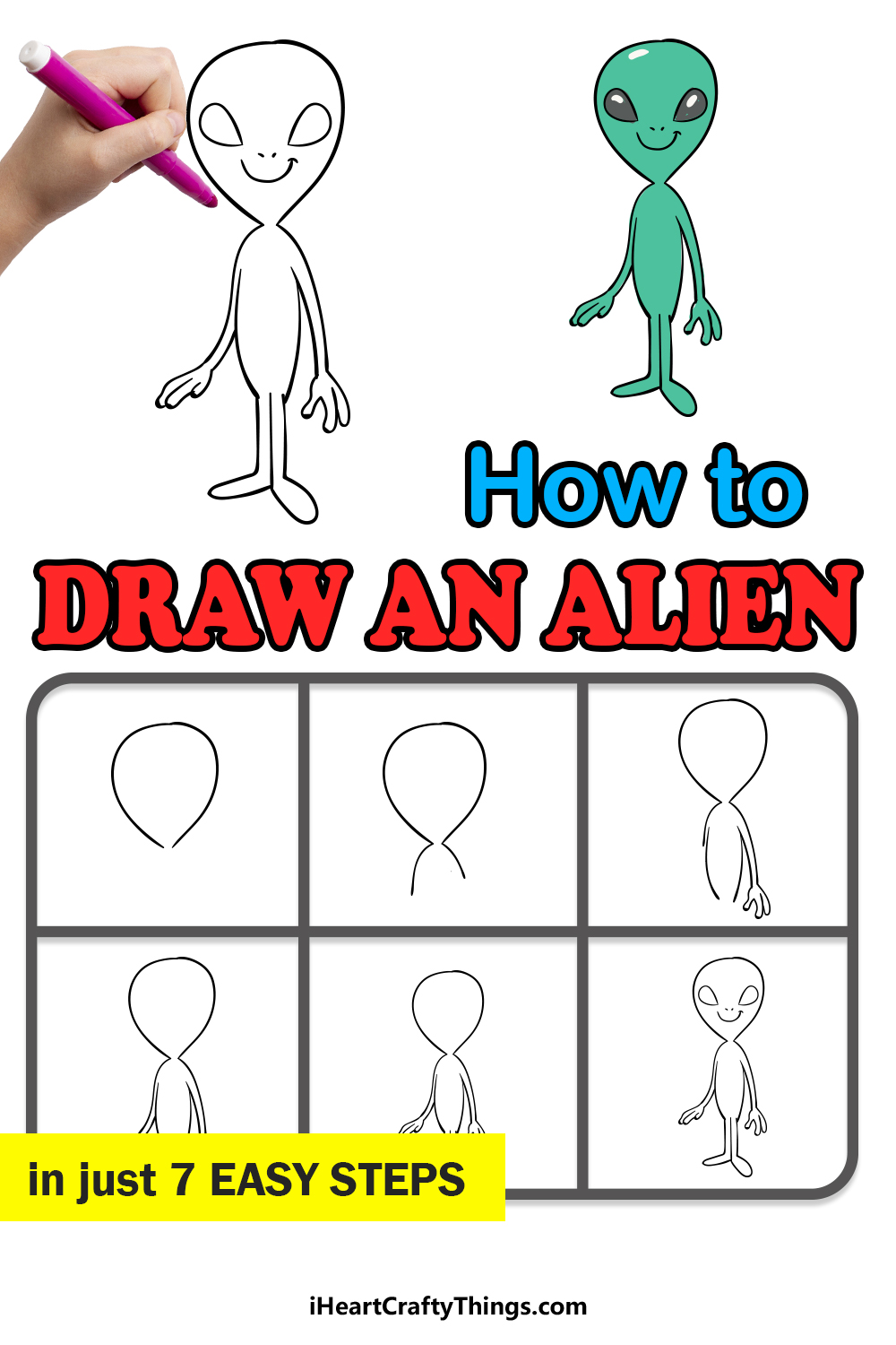 how to draw an alien in 7 easy steps
