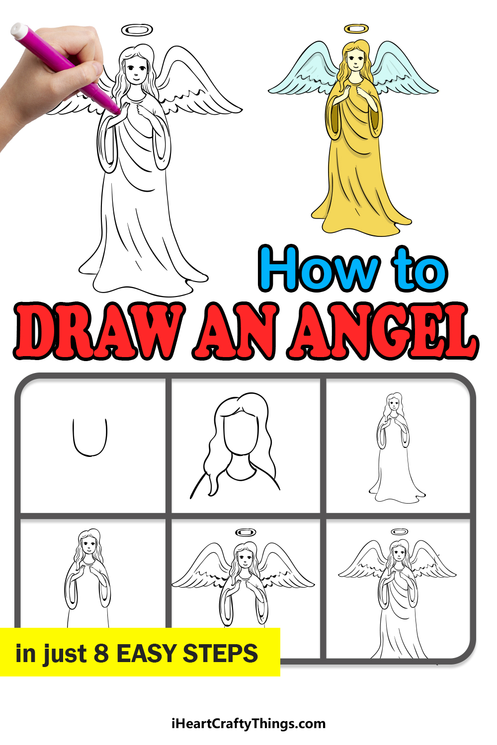 how to draw an angel in 8 easy steps