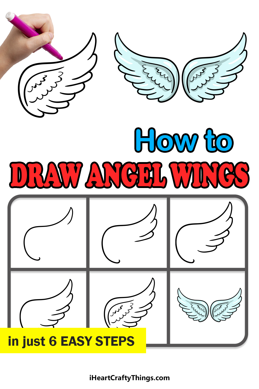 how to draw angel wings in 6 easy steps