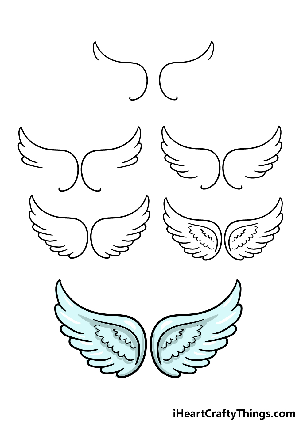 how to draw angel wings in 6 steps
